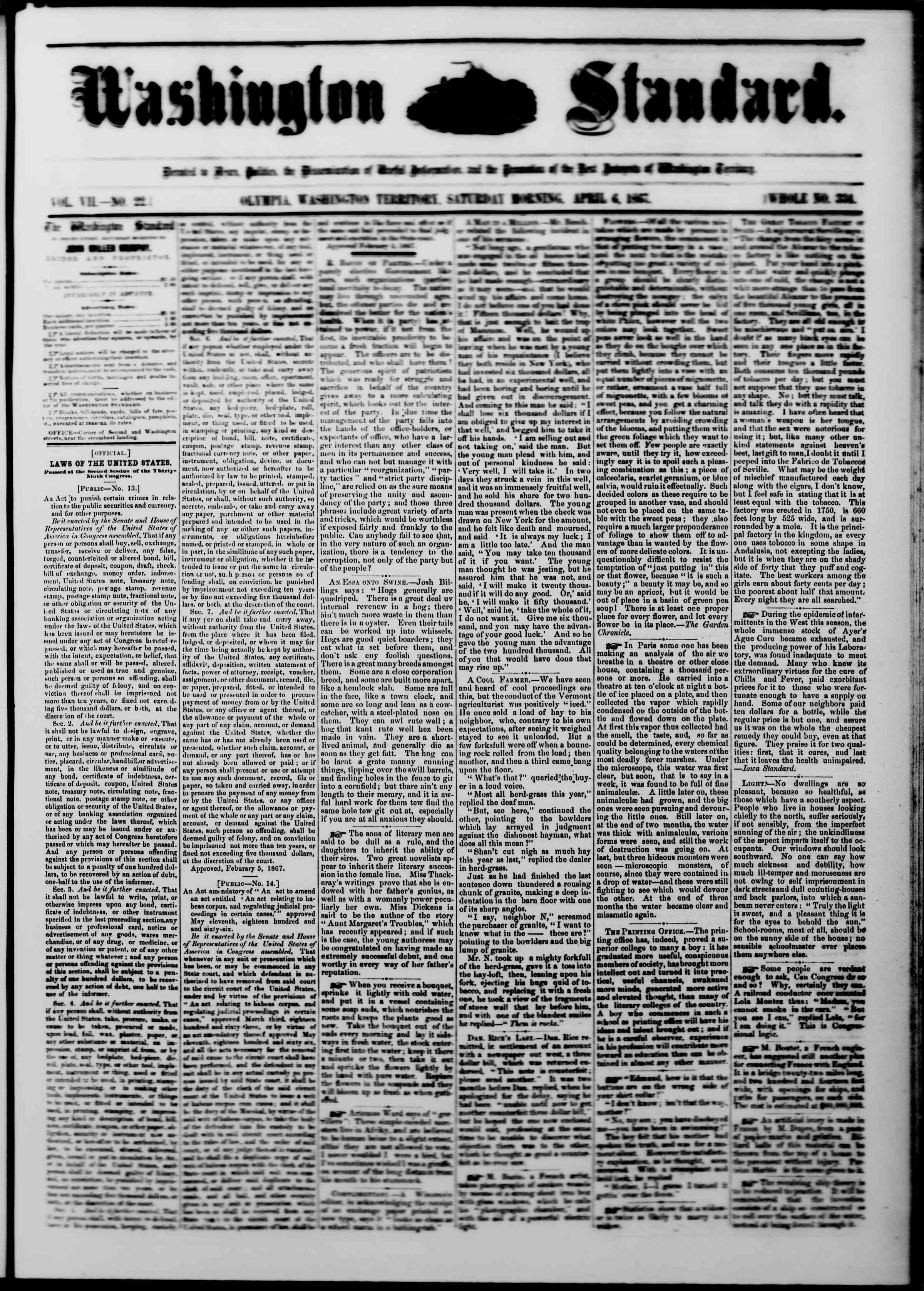 Newspaper of The Washington Standard dated April 6, 1867 Page 1