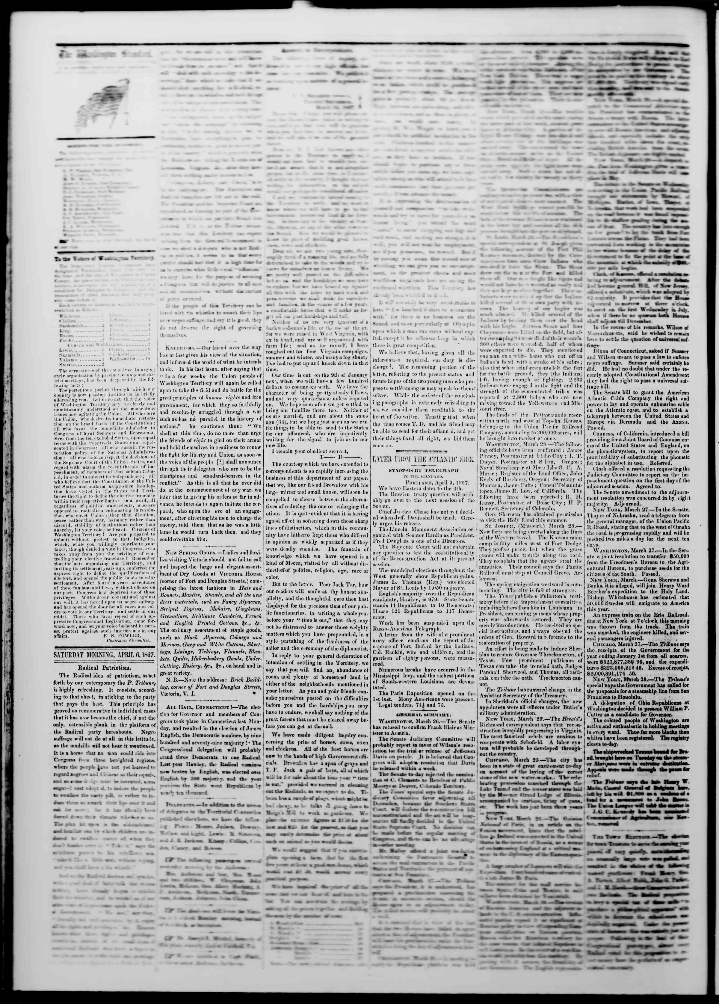 Newspaper of The Washington Standard dated April 6, 1867 Page 2