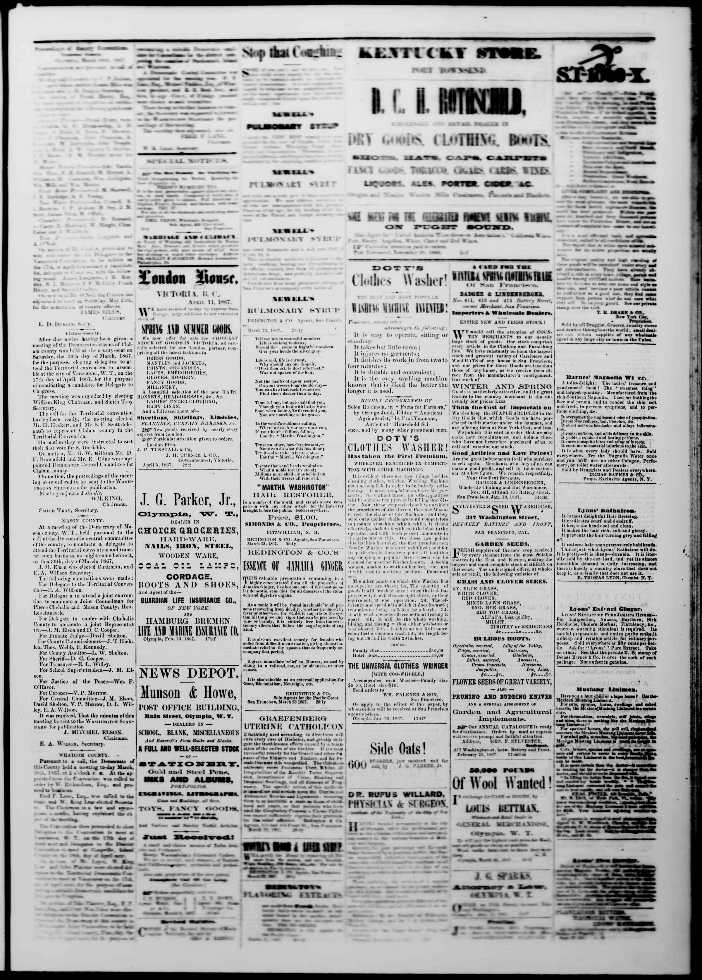 Newspaper of The Washington Standard dated April 6, 1867 Page 3