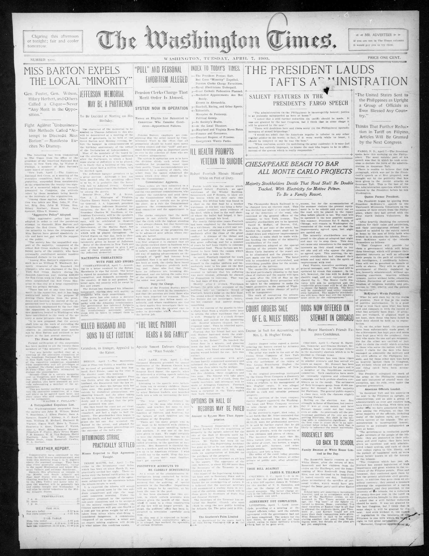 7 Nisan 1903 Tarihli The Washington Times Gazetesi Sayfa 1