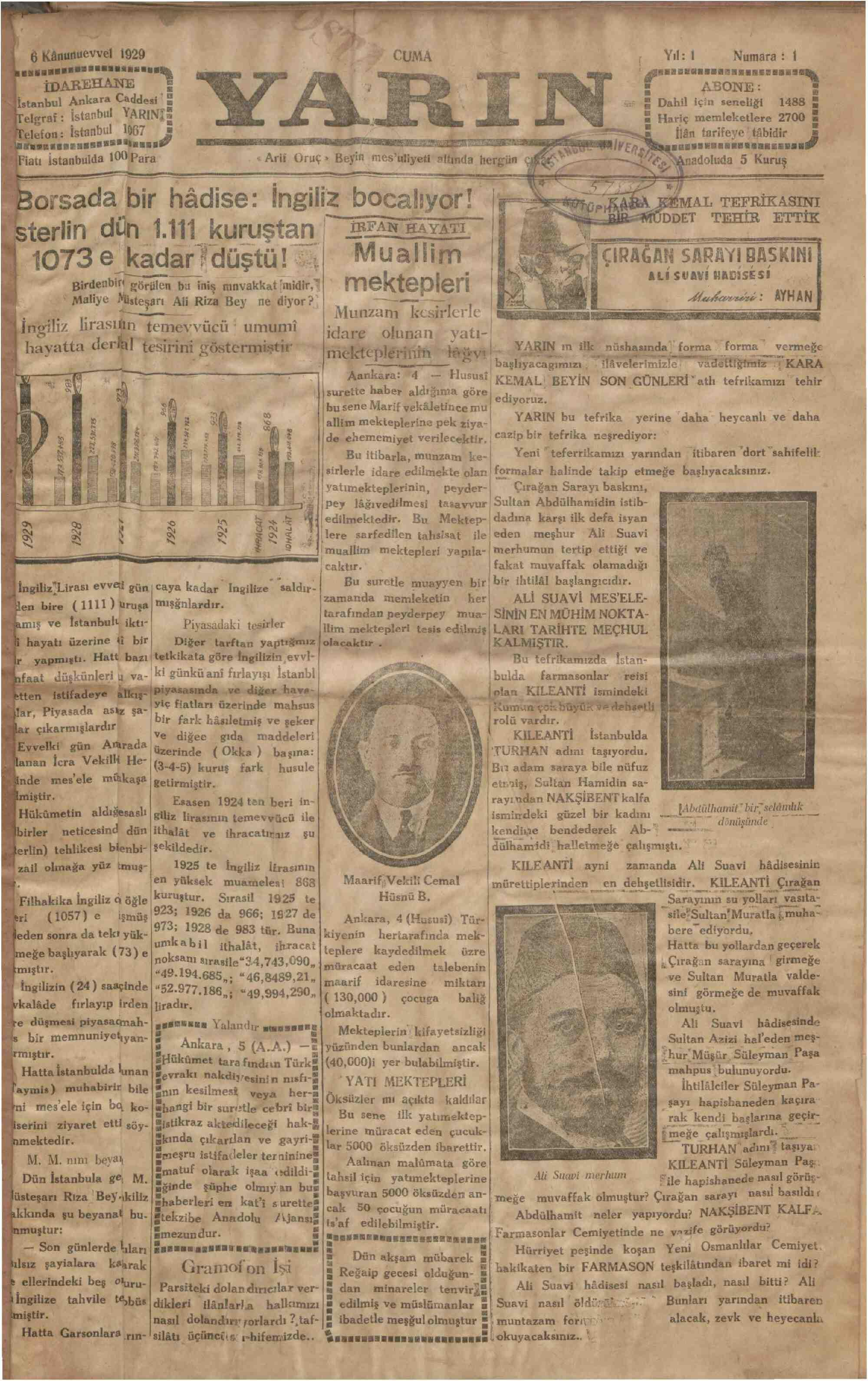 6 Aralık 1929 Tarihli Yarın Gazetesi Sayfa 1