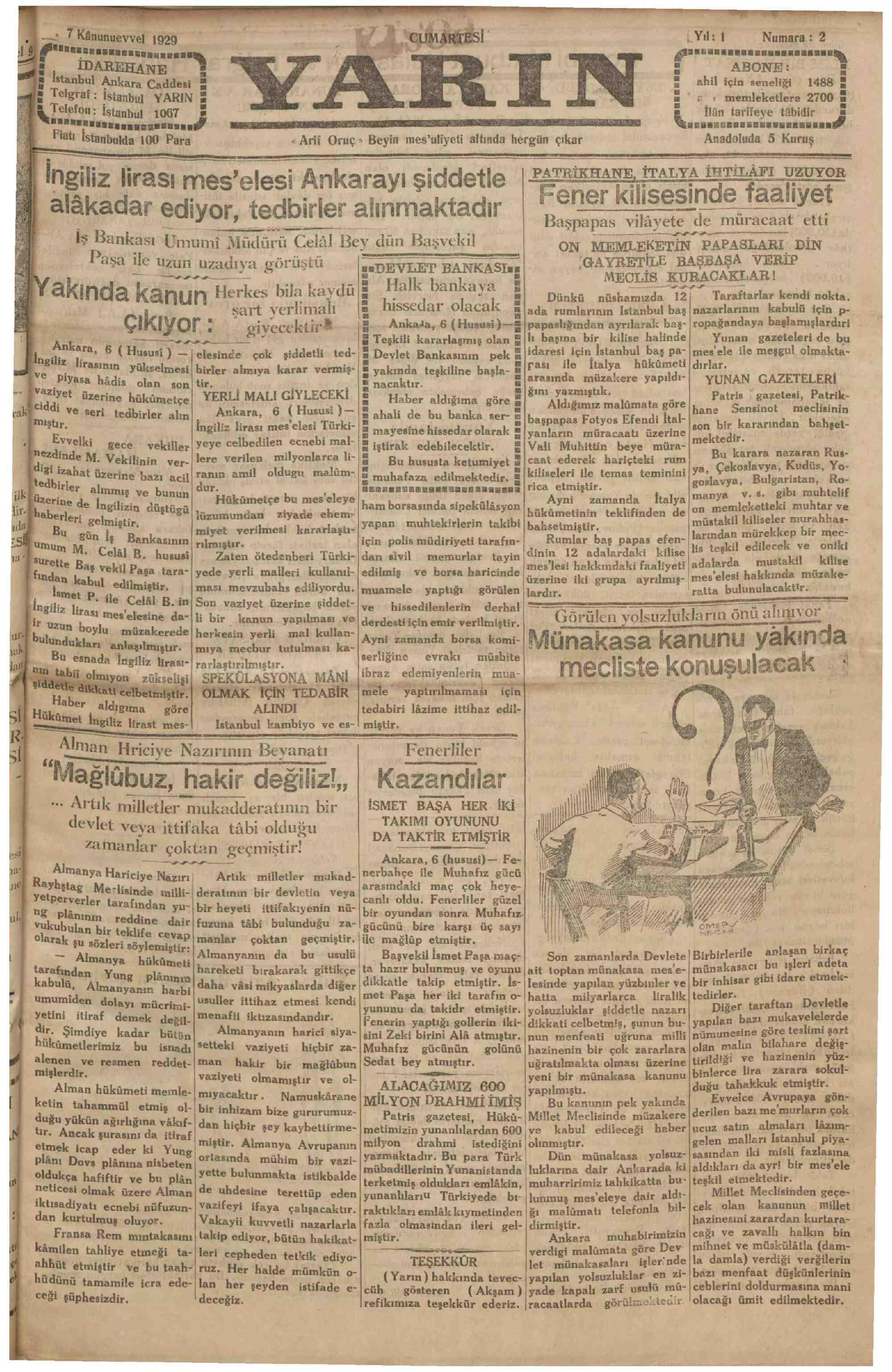 7 Aralık 1929 Tarihli Yarın Gazetesi Sayfa 1