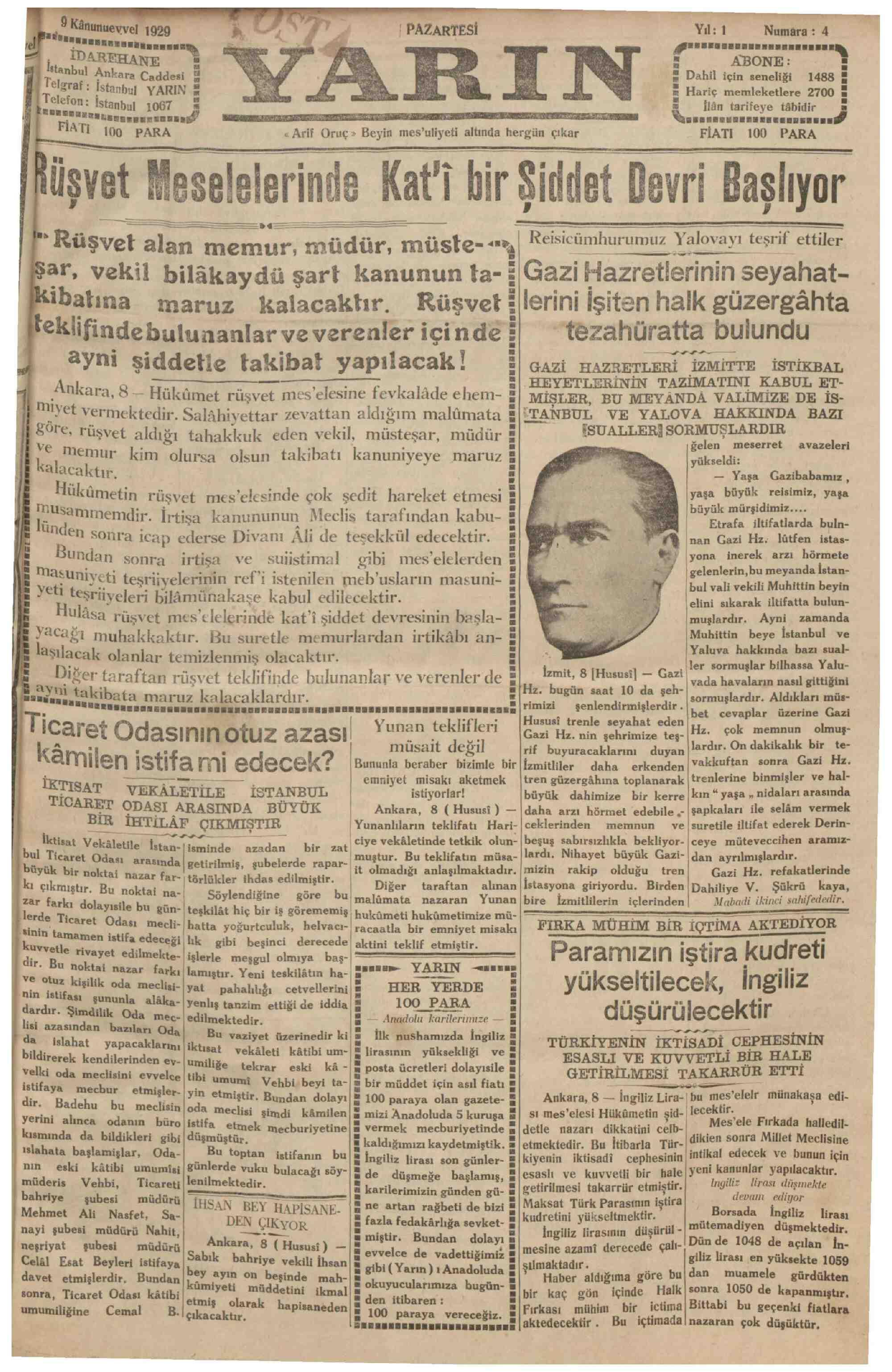 9 Aralık 1929 Tarihli Yarın Gazetesi Sayfa 1