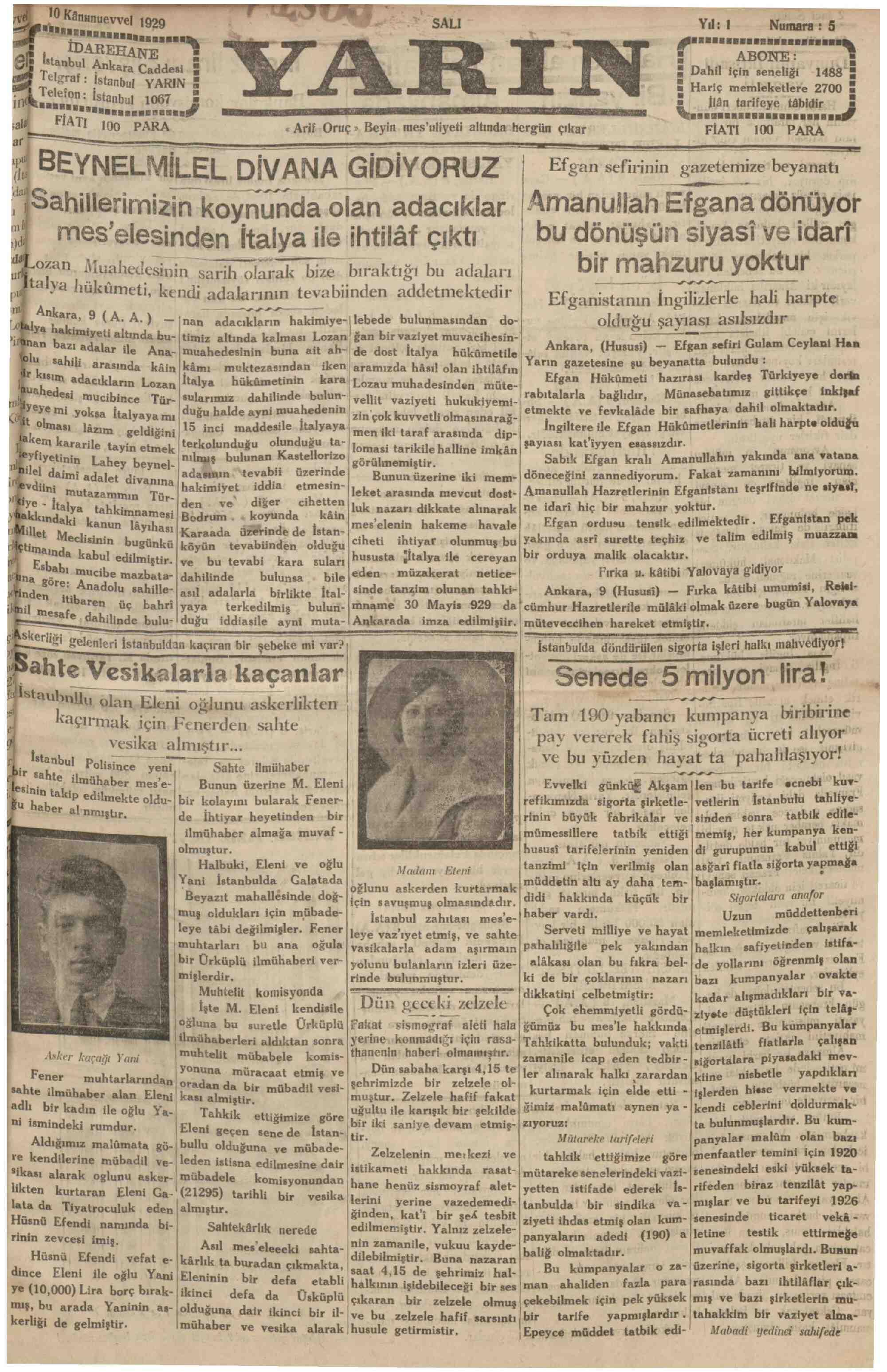 10 Aralık 1929 Tarihli Yarın Gazetesi Sayfa 1