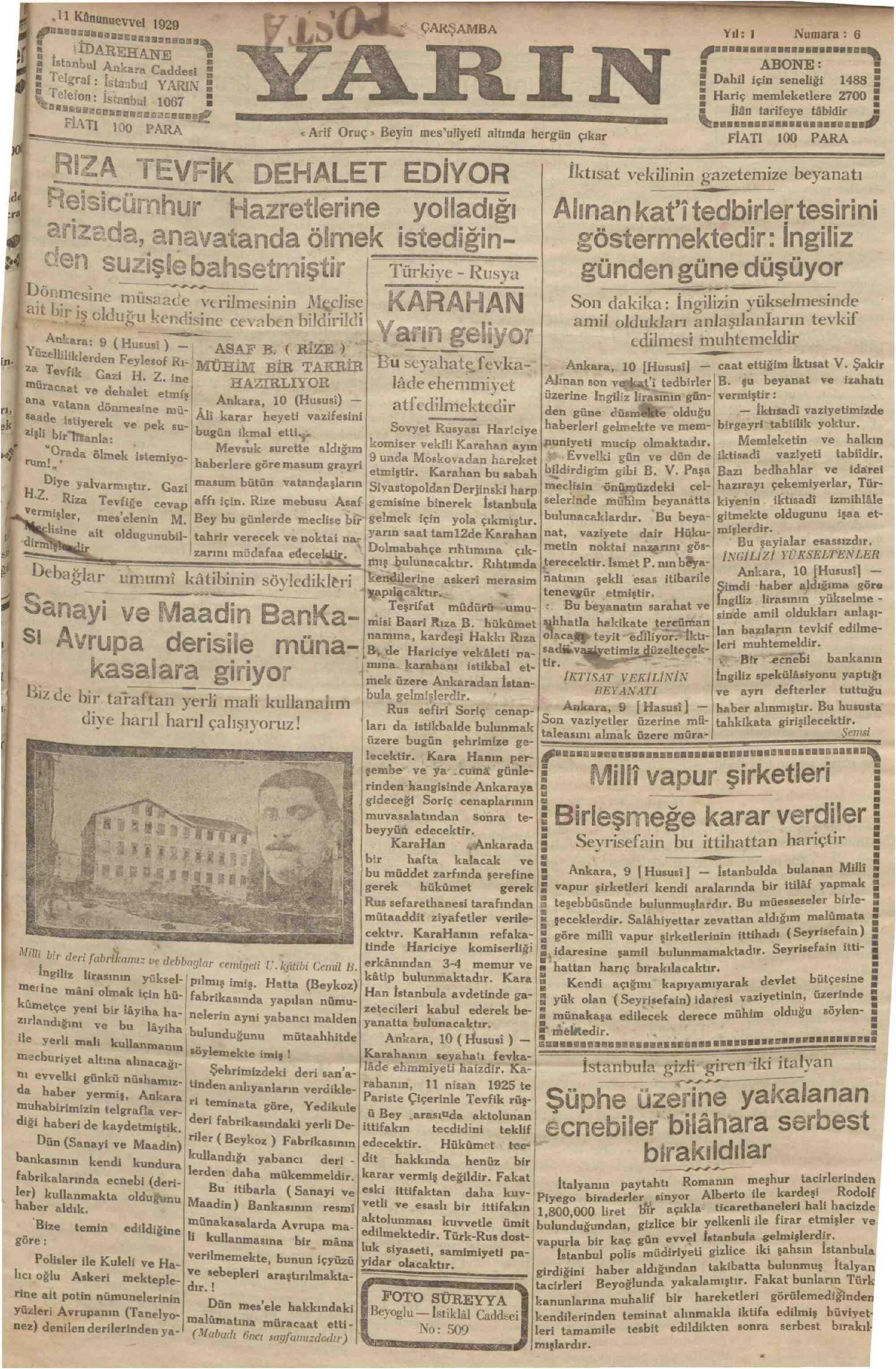 11 Aralık 1929 Tarihli Yarın Gazetesi Sayfa 1