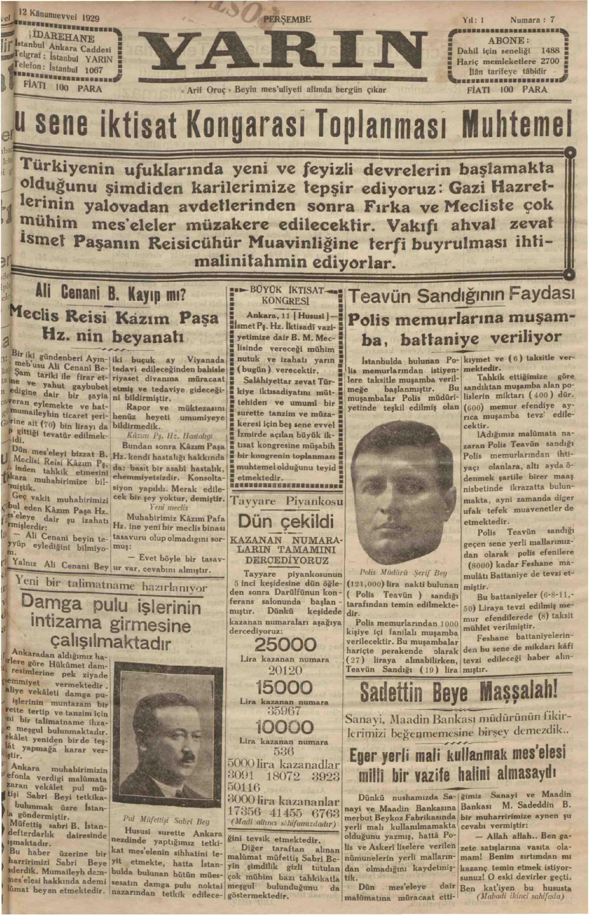 12 Aralık 1929 Tarihli Yarın Gazetesi Sayfa 1