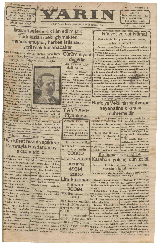 13 Aralık 1929 Tarihli Yarın Gazetesi Sayfa 1