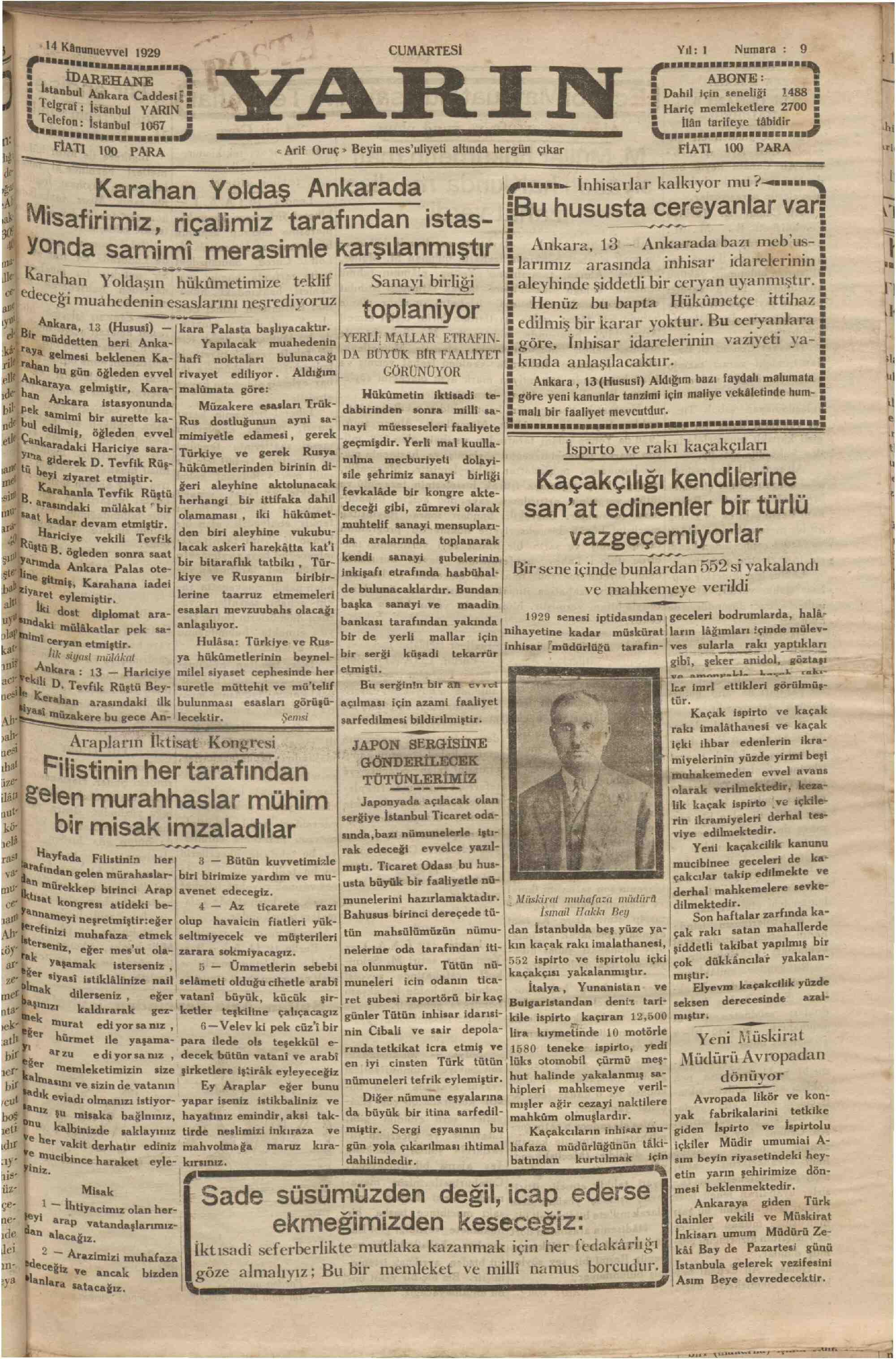 14 Aralık 1929 Tarihli Yarın Gazetesi Sayfa 1