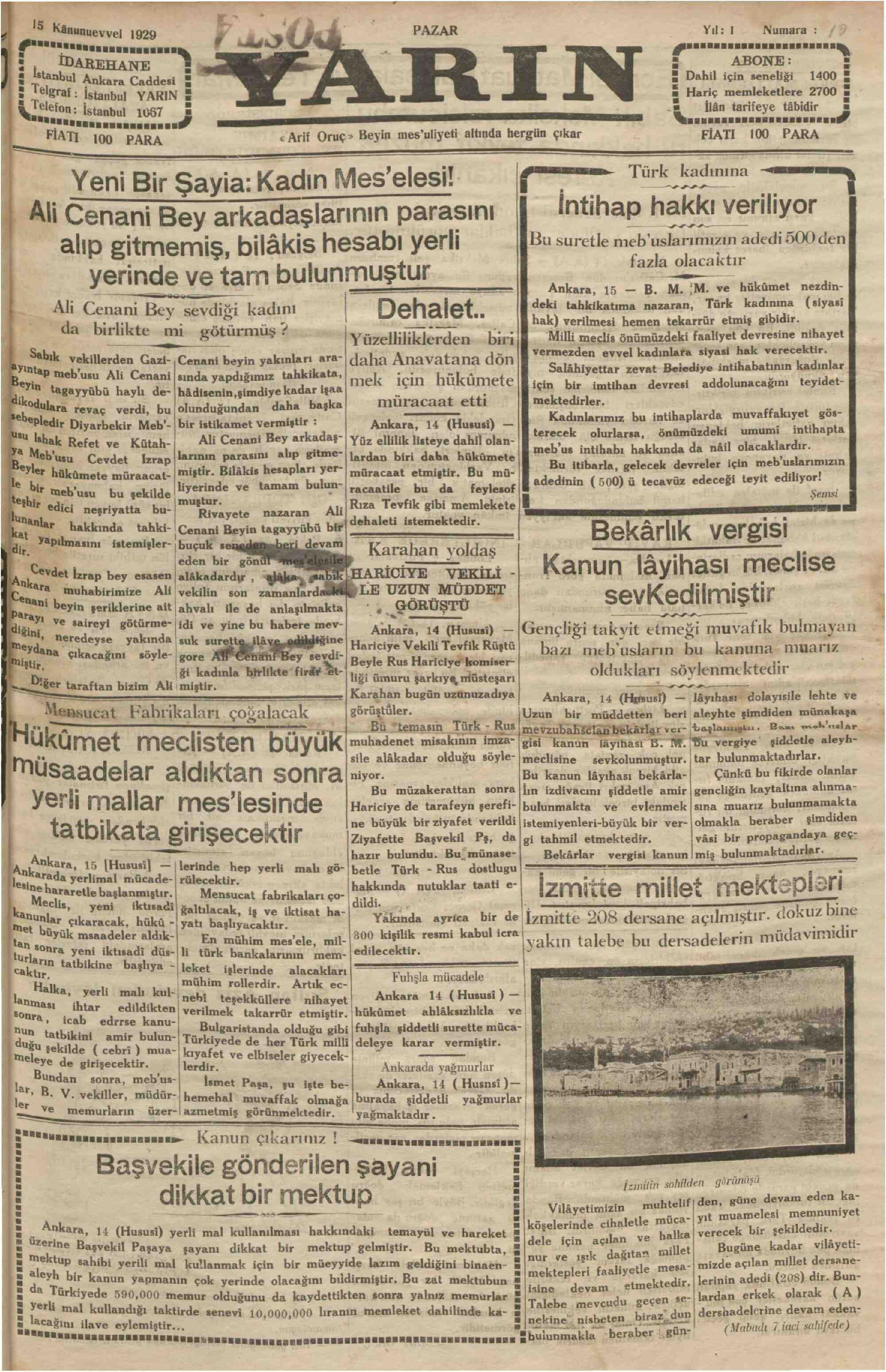 15 Aralık 1929 Tarihli Yarın Gazetesi Sayfa 1