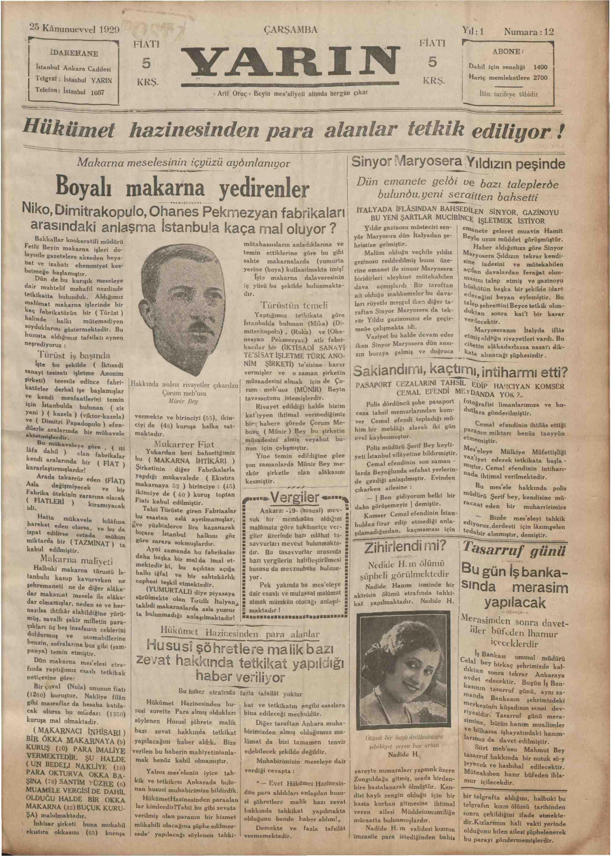 25 Aralık 1929 Tarihli Yarın Gazetesi Sayfa 1