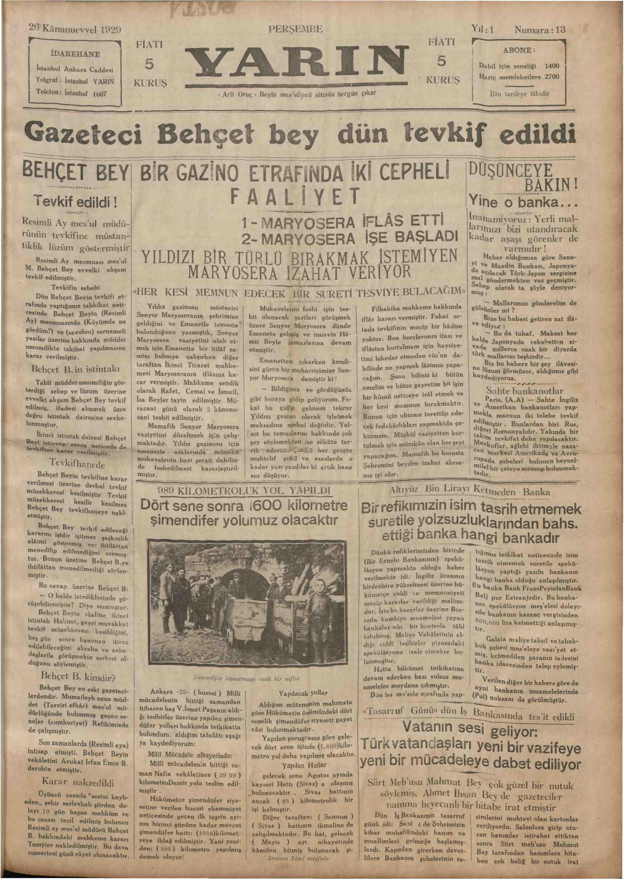 26 Aralık 1929 Tarihli Yarın Gazetesi Sayfa 1
