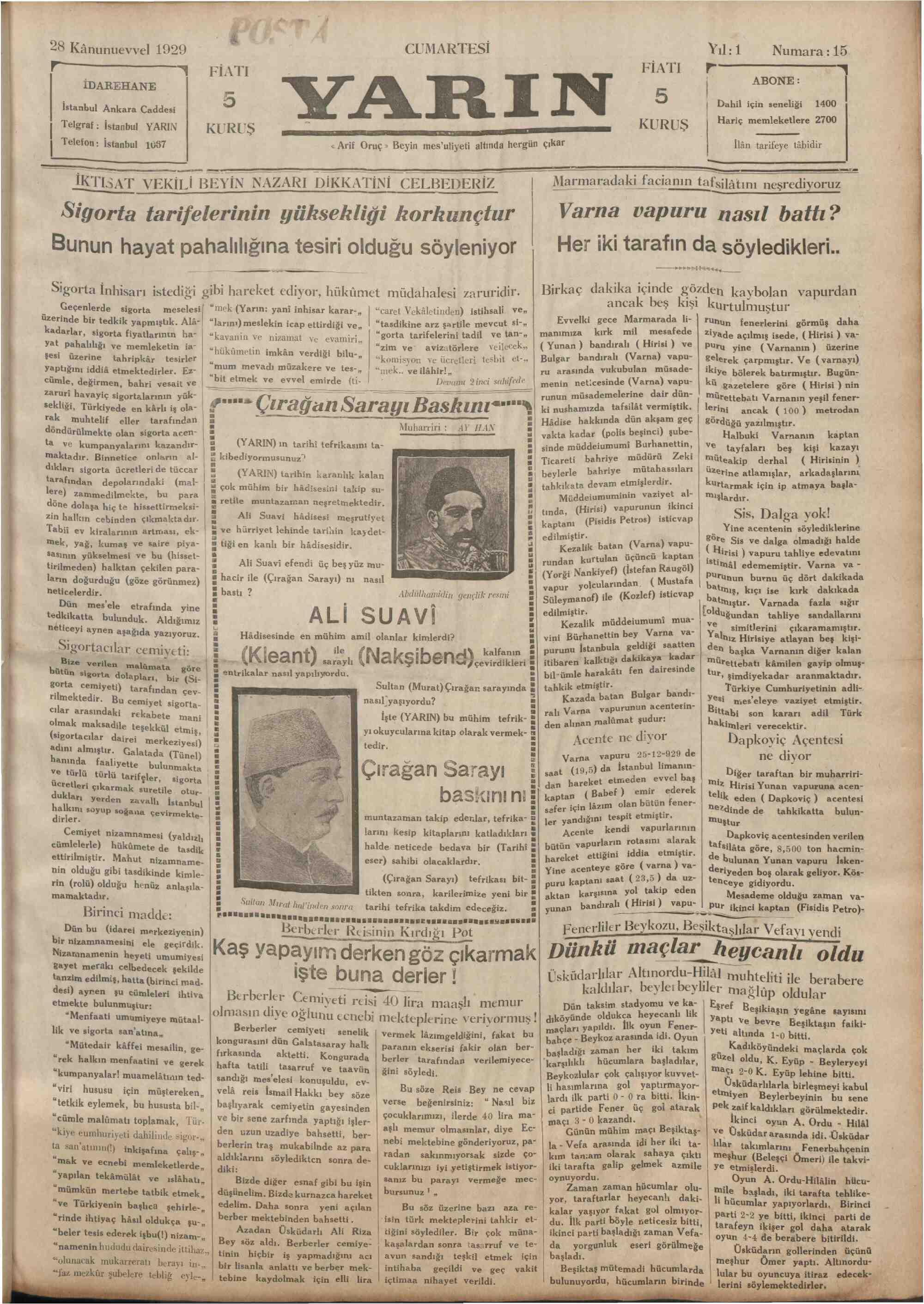28 Aralık 1929 Tarihli Yarın Gazetesi Sayfa 1