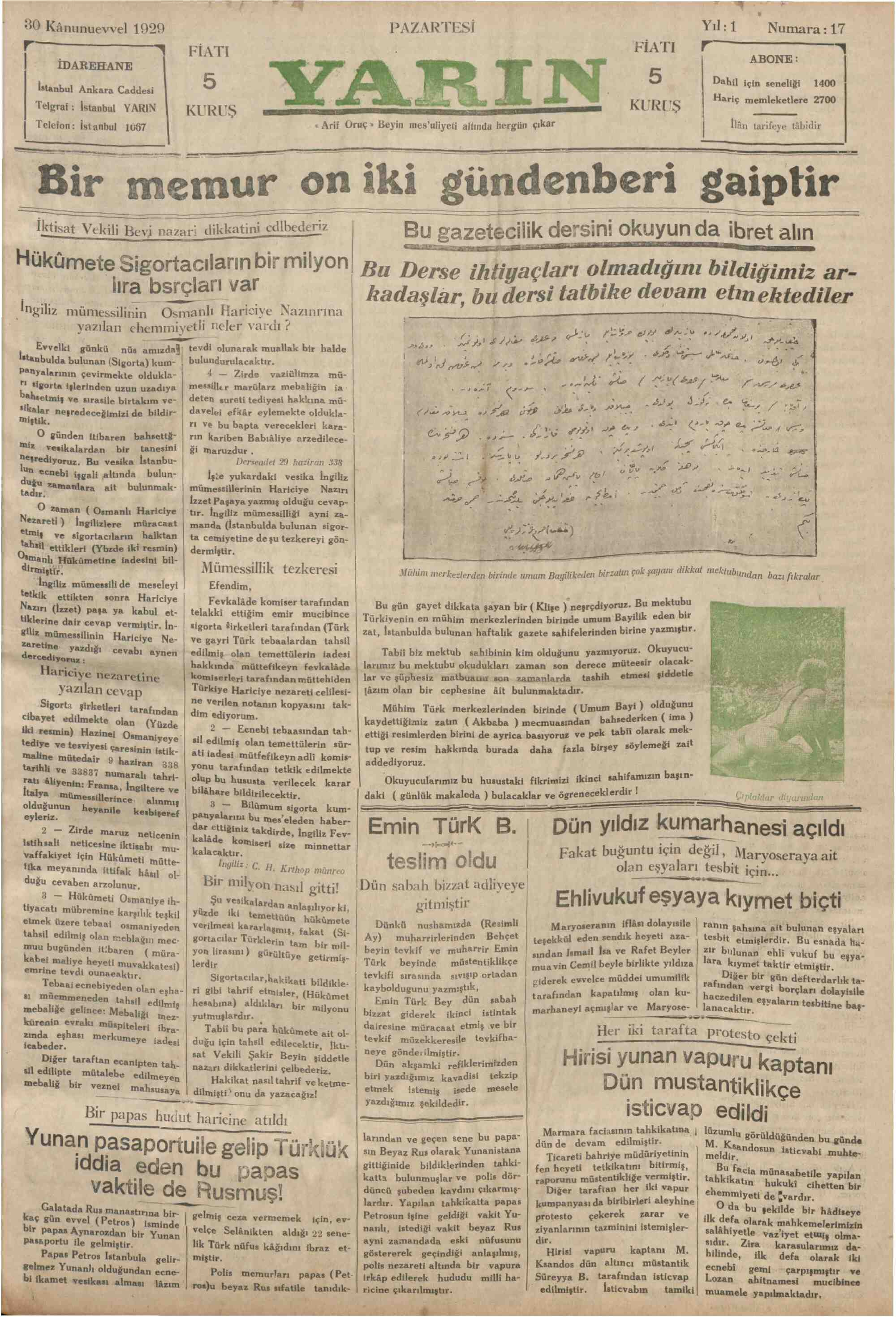 30 Aralık 1929 Tarihli Yarın Gazetesi Sayfa 1
