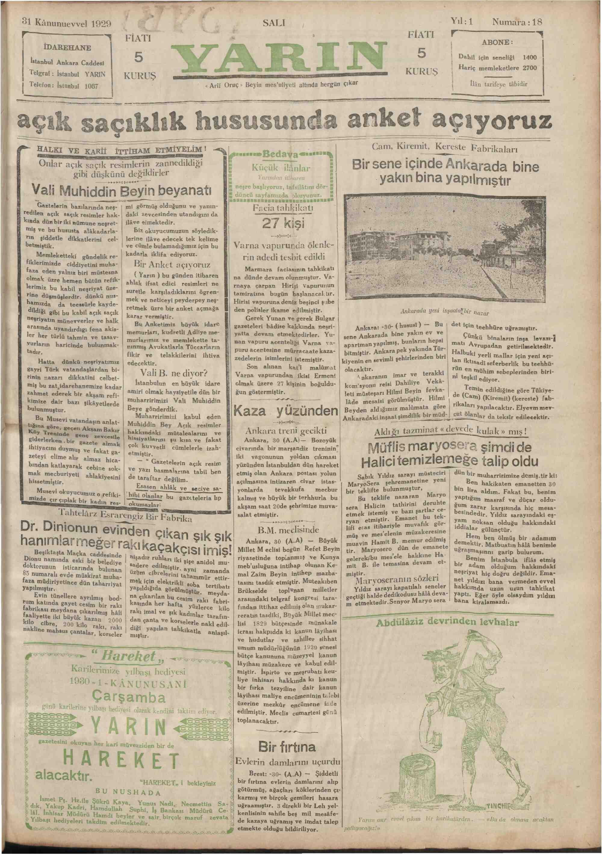 31 Aralık 1929 Tarihli Yarın Gazetesi Sayfa 1