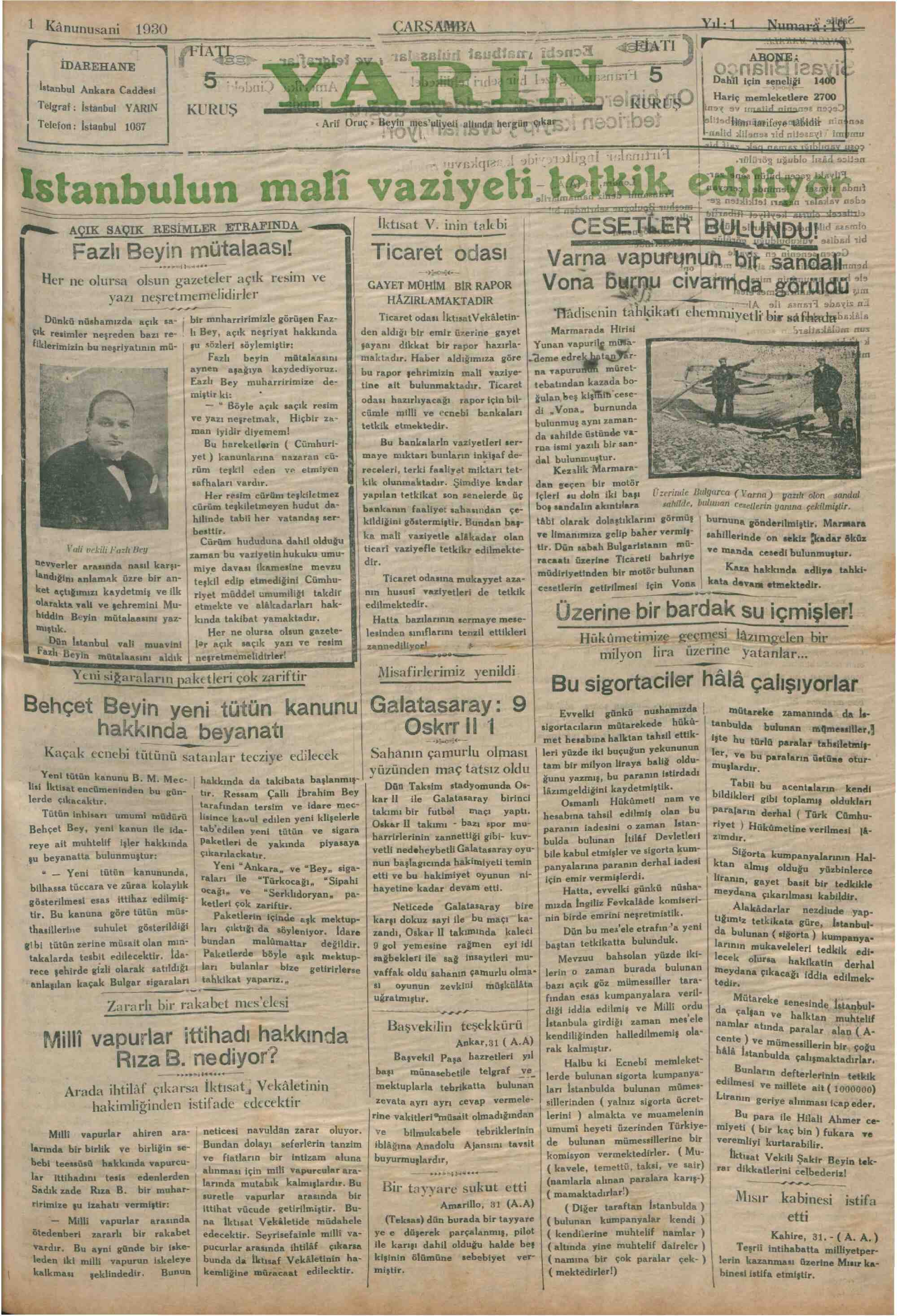 1 Ocak 1930 Tarihli Yarın Gazetesi Sayfa 1