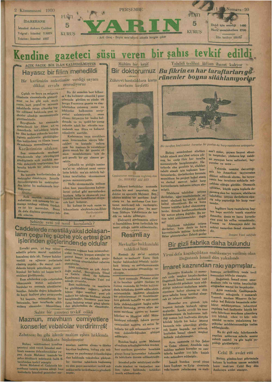 2 Ocak 1930 Tarihli Yarın Gazetesi Sayfa 1