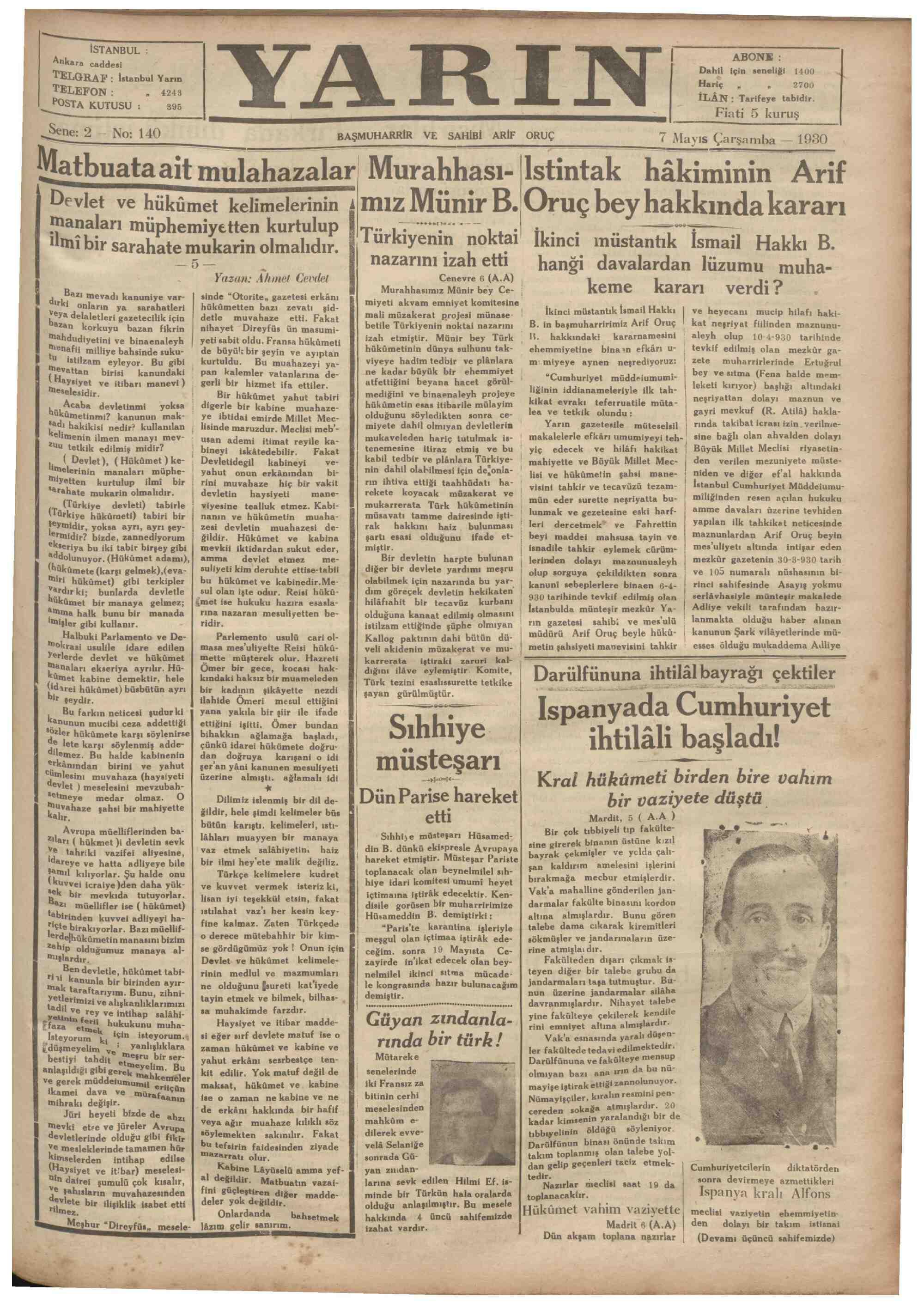 7 Mayıs 1930 tarihli Yarın Gazetesi Sayfa 1