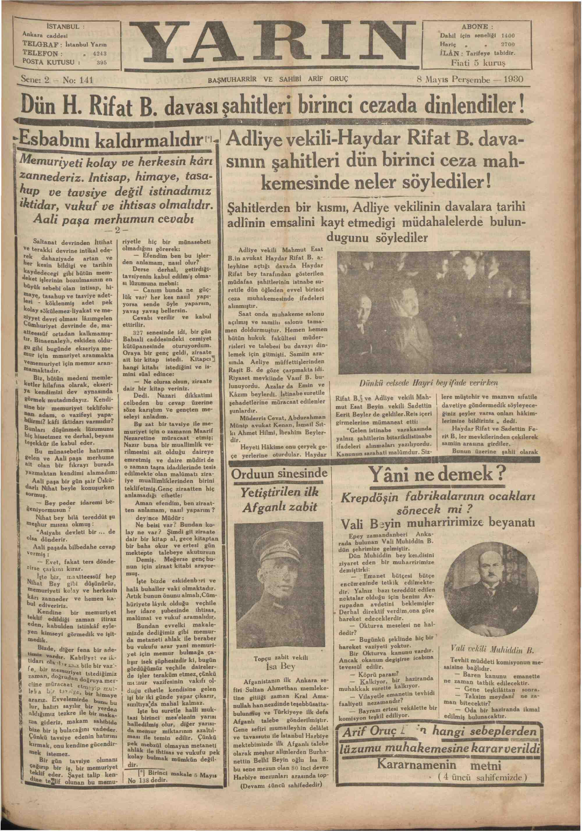 8 Mayıs 1930 tarihli Yarın Gazetesi Sayfa 1