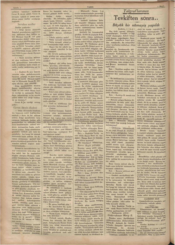 8 Mayıs 1930 tarihli Yarın Gazetesi Sayfa 2