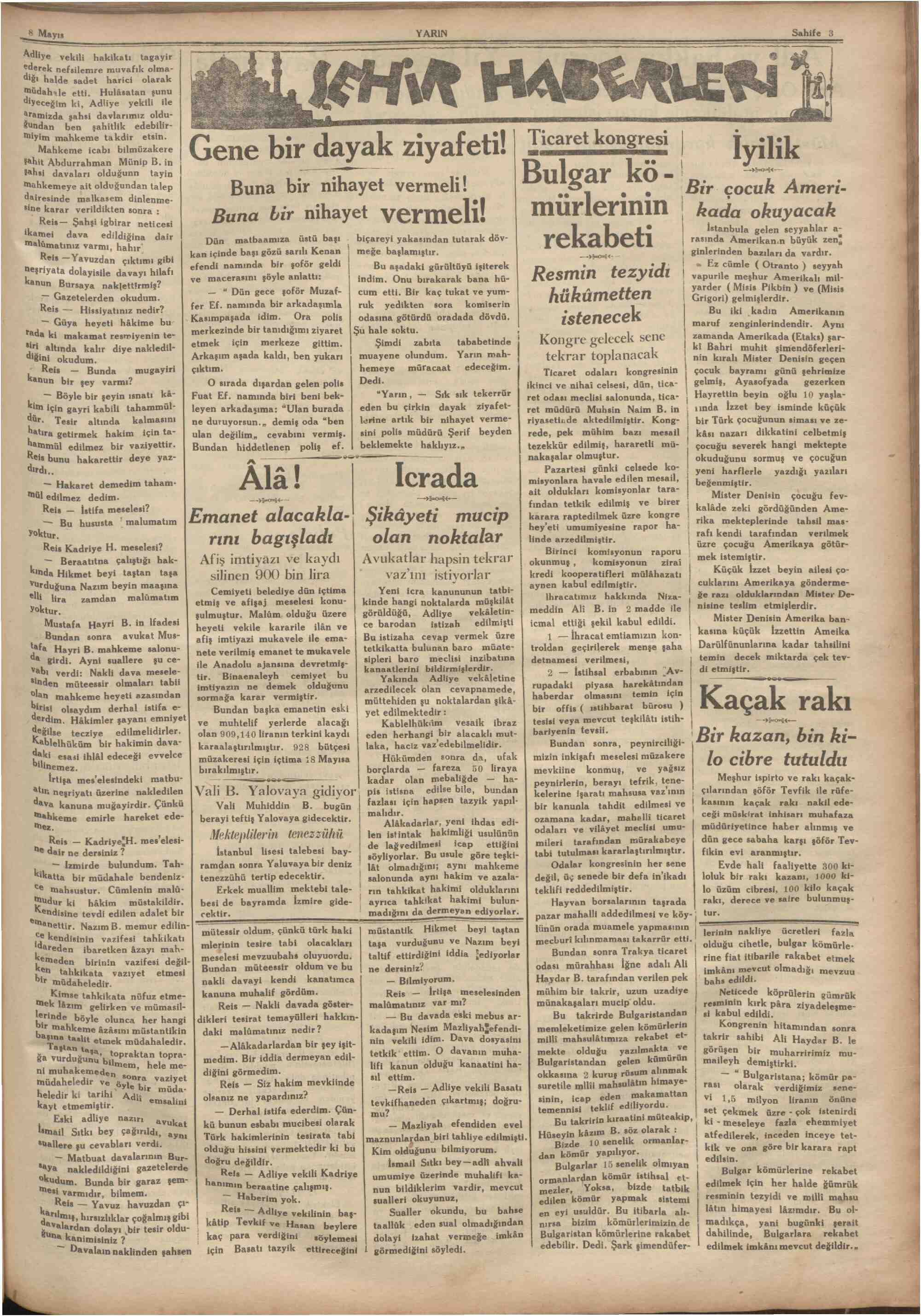 Newspaper of Yarın dated May 8, 1930 Page 3