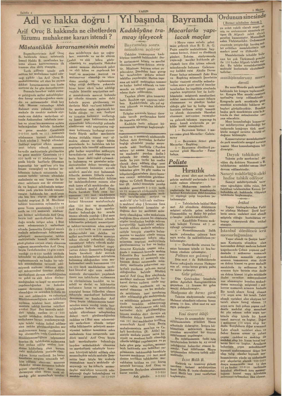 8 Mayıs 1930 tarihli Yarın Gazetesi Sayfa 4