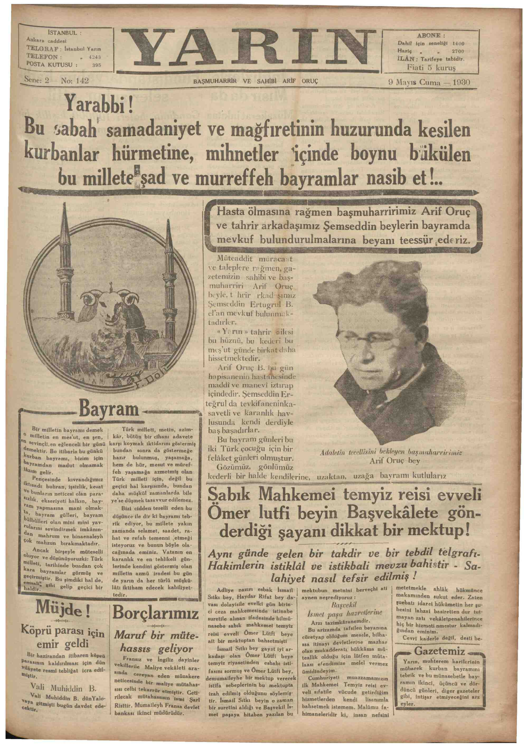 9 Mayıs 1930 tarihli Yarın Gazetesi Sayfa 1