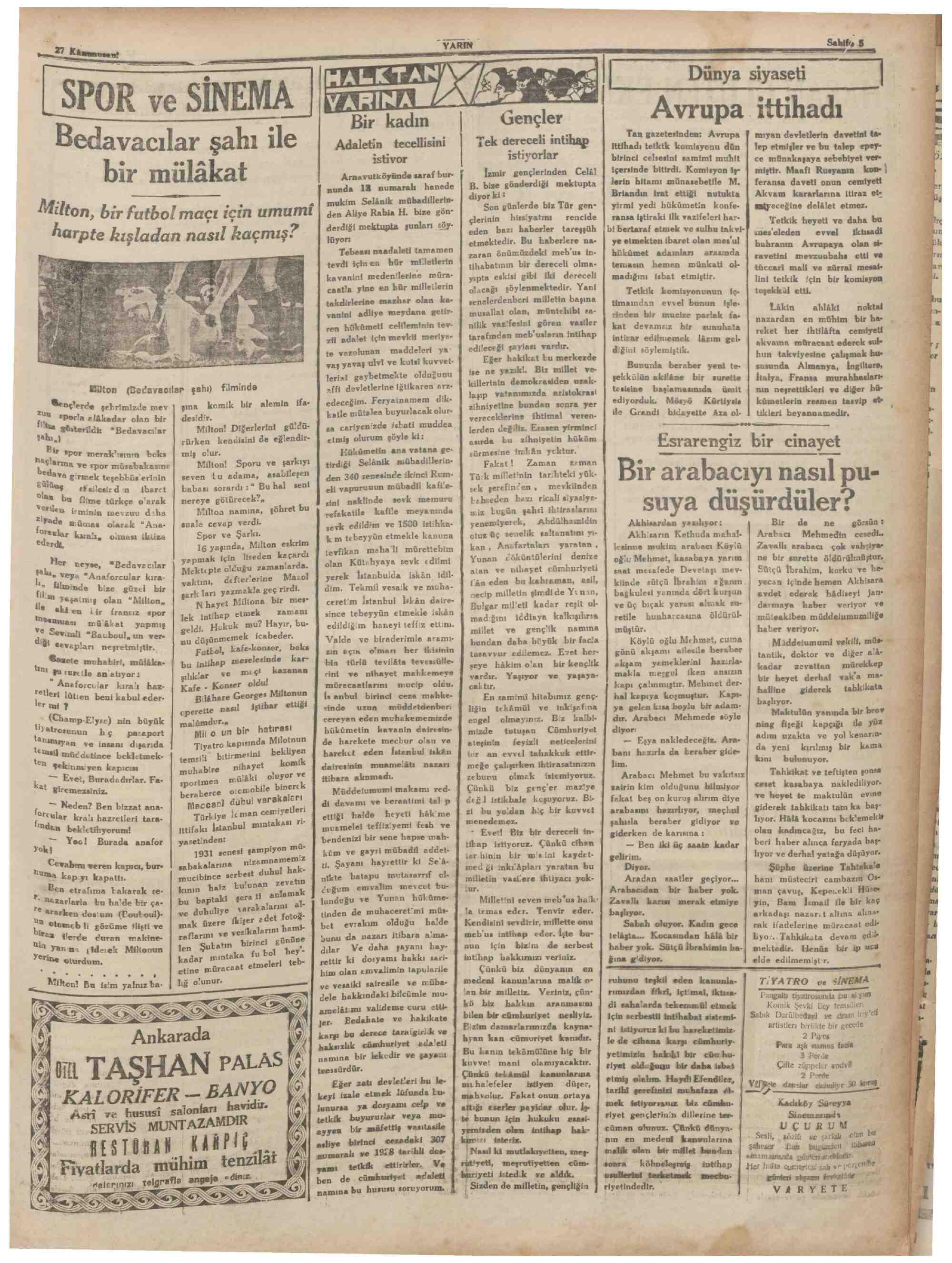 27 Ocak 1931 Tarihli Yarın Gazetesi Sayfa 5