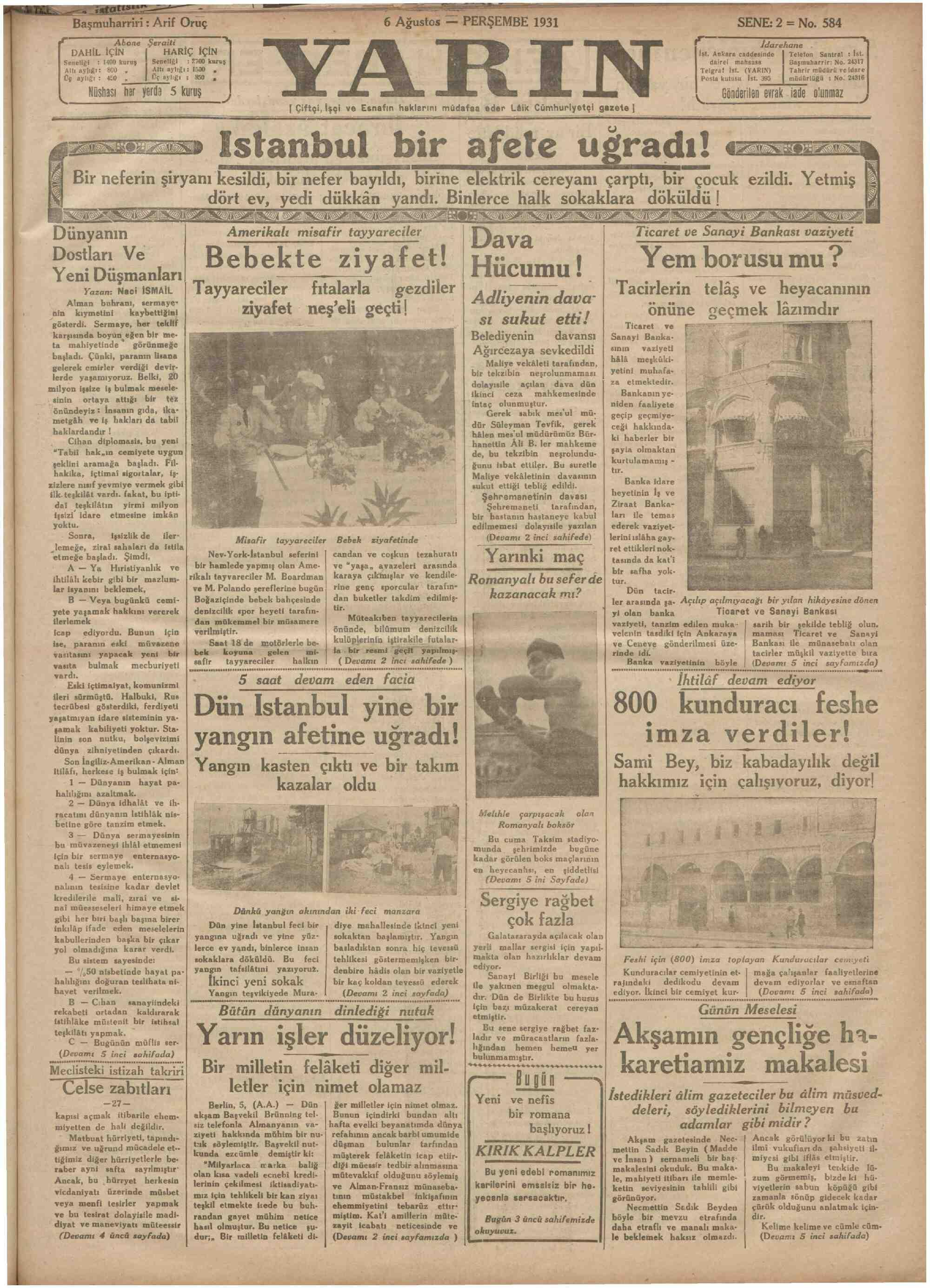 6 Ağustos 1931 Tarihli Yarın Gazetesi Sayfa 1