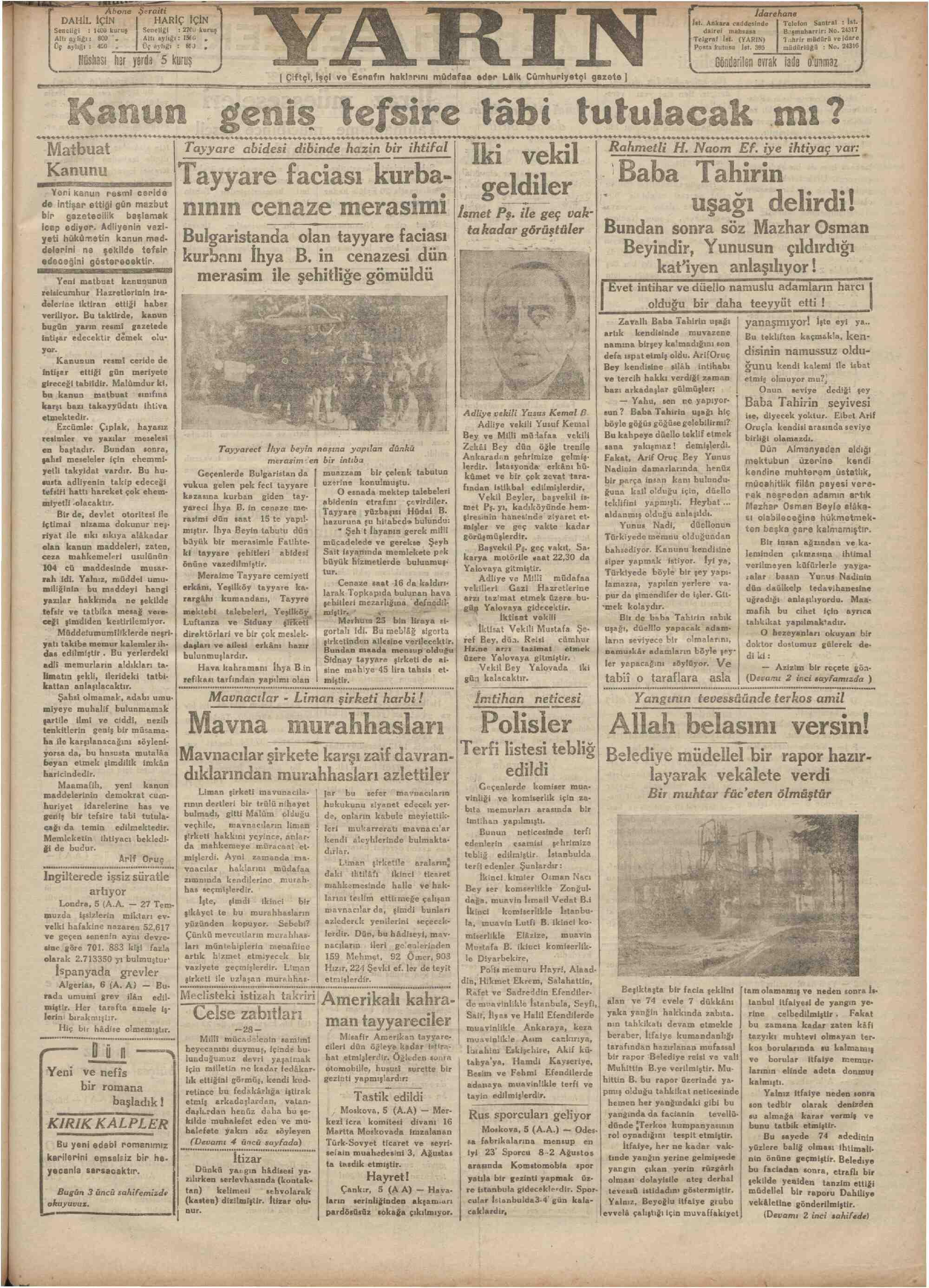 7 Ağustos 1931 Tarihli Yarın Gazetesi Sayfa 1