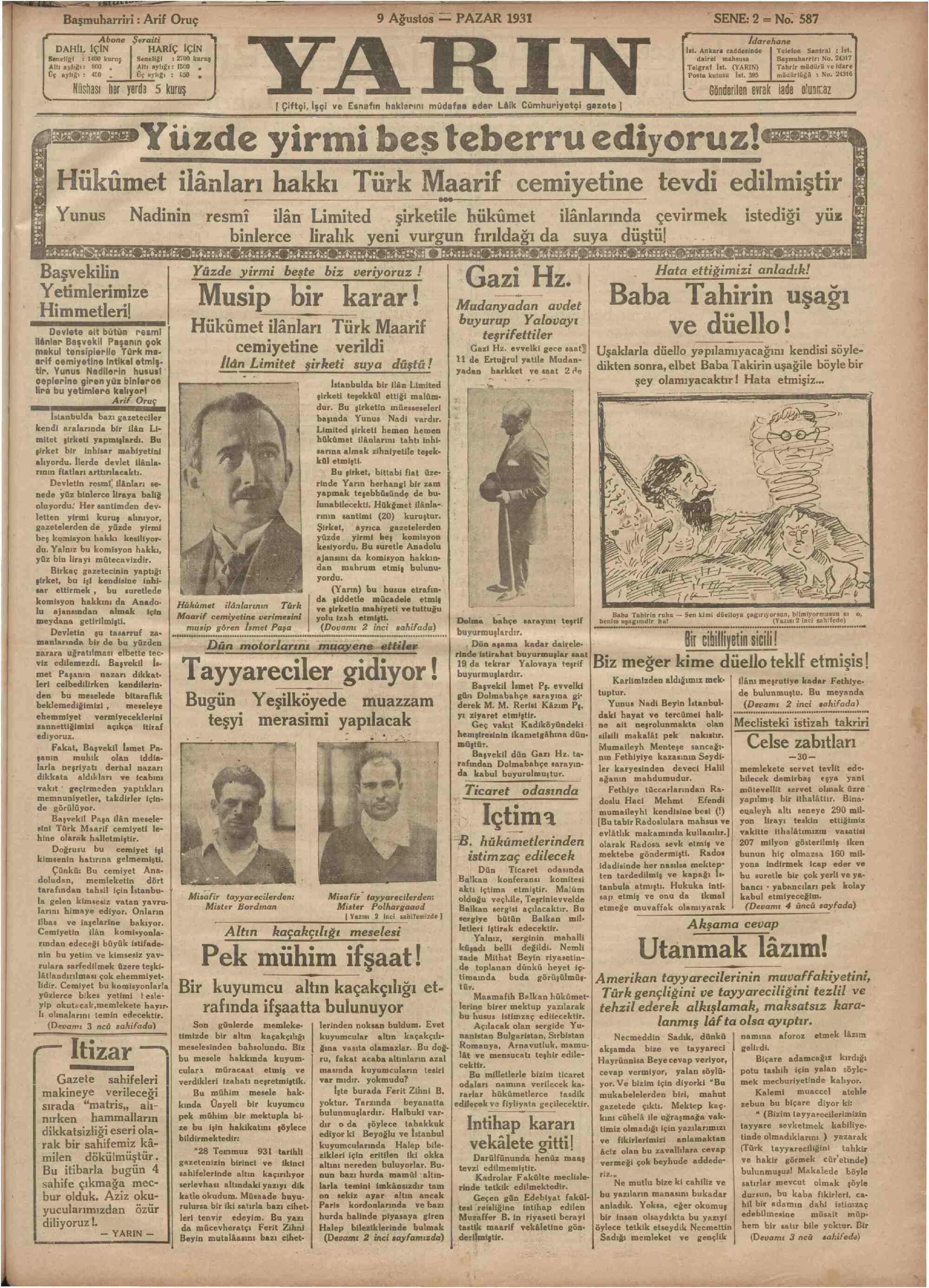 9 Ağustos 1931 Tarihli Yarın Gazetesi Sayfa 1