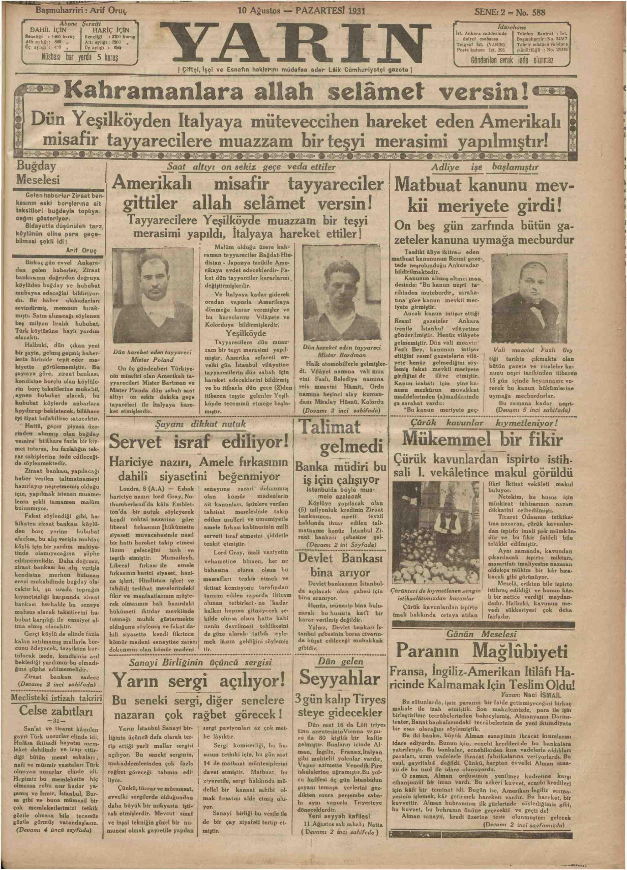 10 Ağustos 1931 Tarihli Yarın Gazetesi Sayfa 1