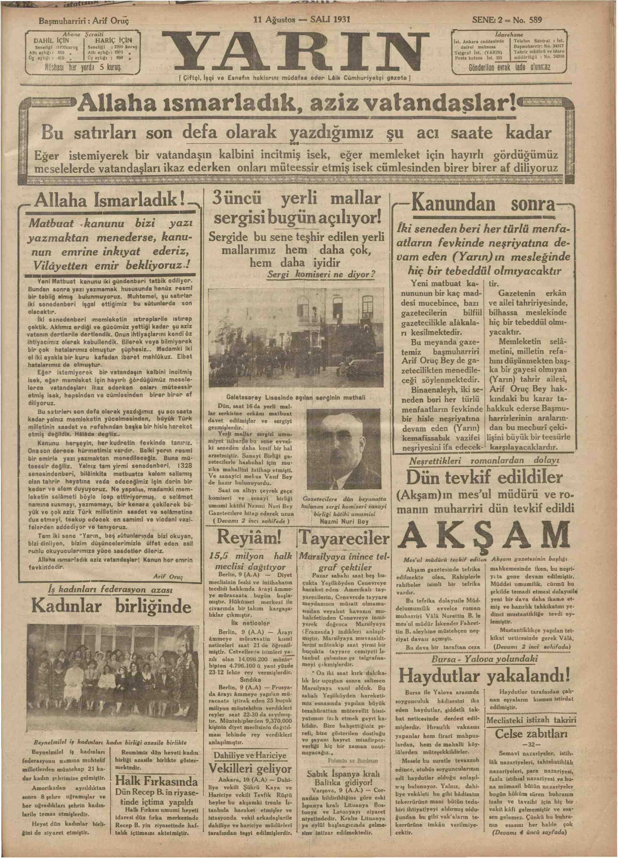 11 Ağustos 1931 Tarihli Yarın Dergisi Sayfa 1