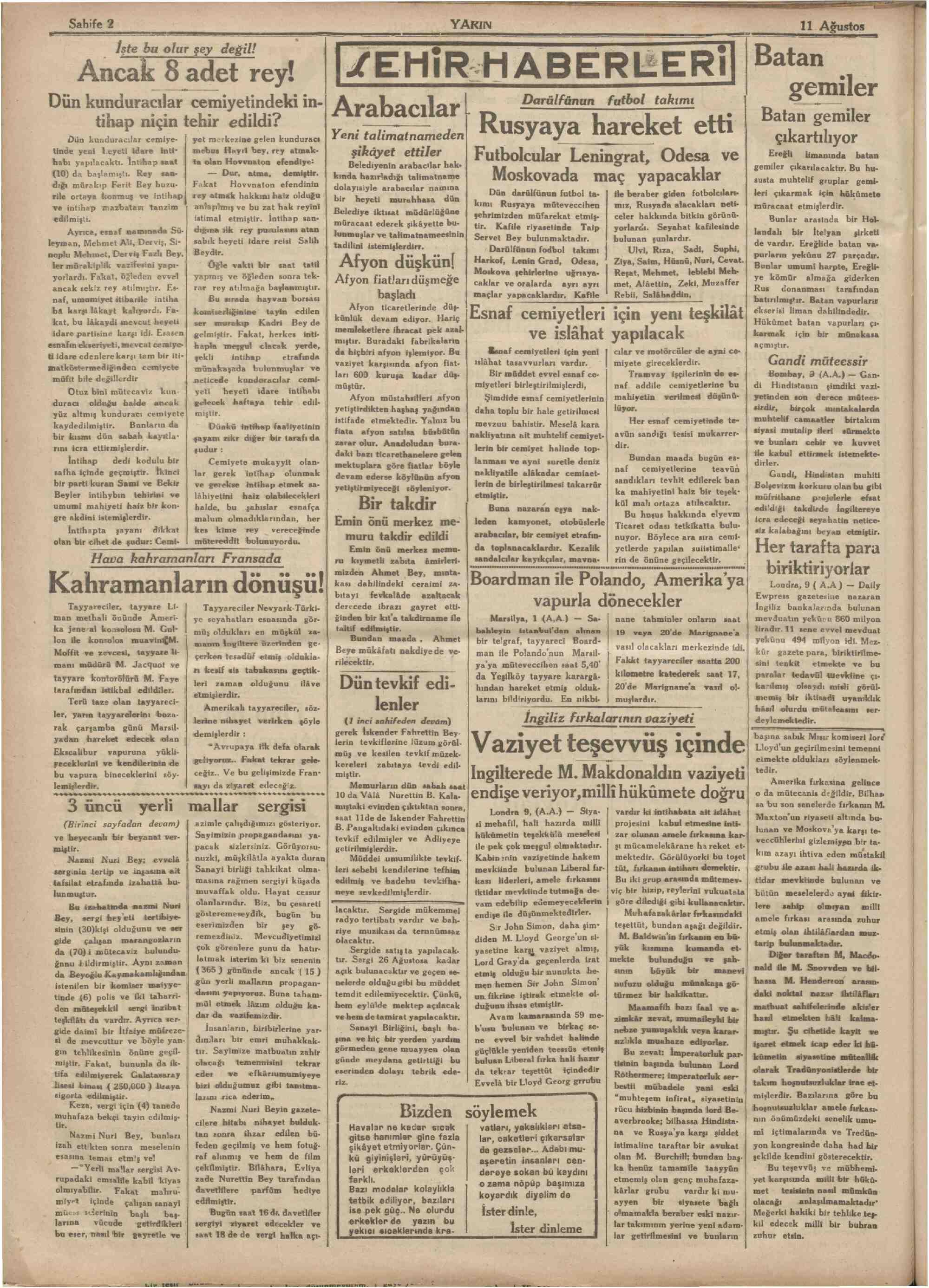 11 Ağustos 1931 tarihli Yarın Gazetesi Sayfa 2