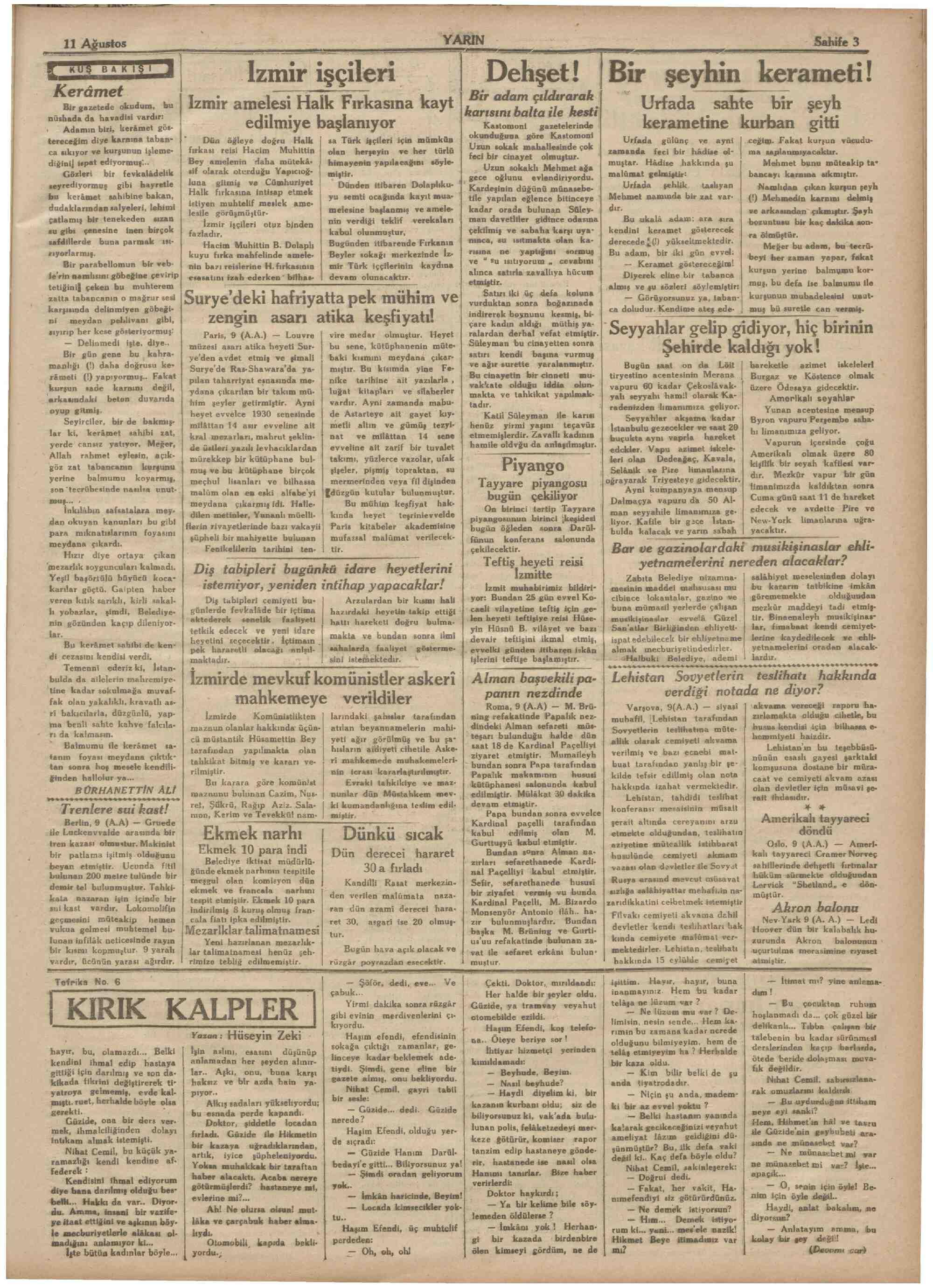 11 Ağustos 1931 Tarihli Yarın Dergisi Sayfa 3