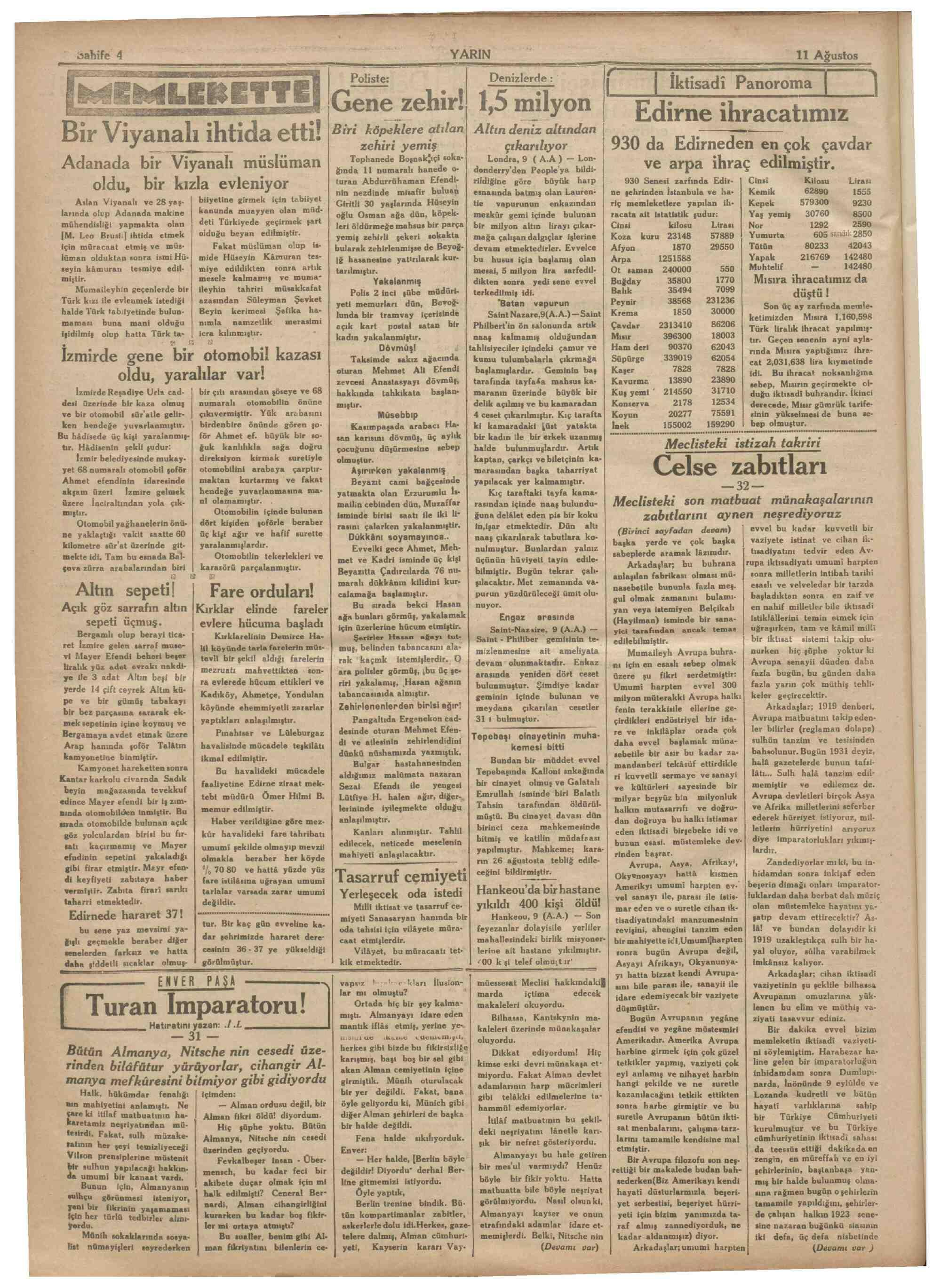 11 Ağustos 1931 Tarihli Yarın Dergisi Sayfa 4