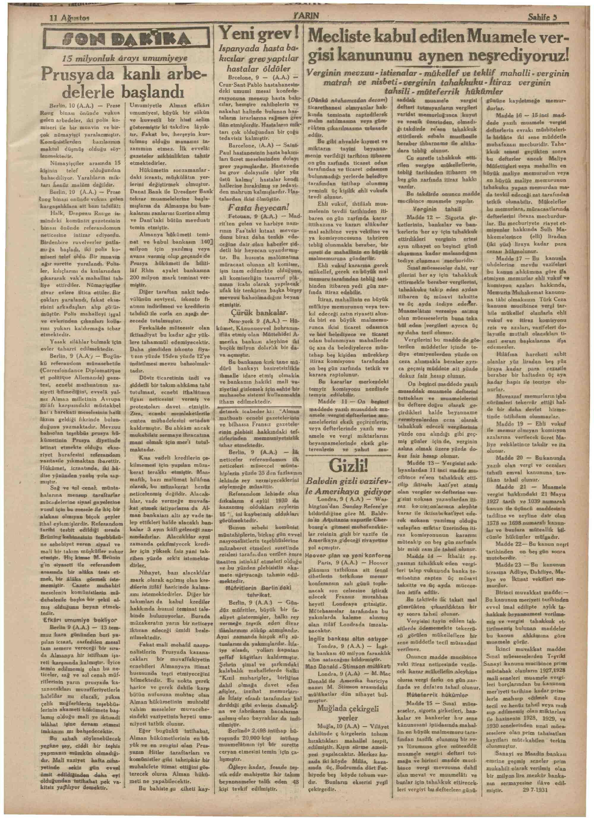 11 Ağustos 1931 Tarihli Yarın Dergisi Sayfa 5