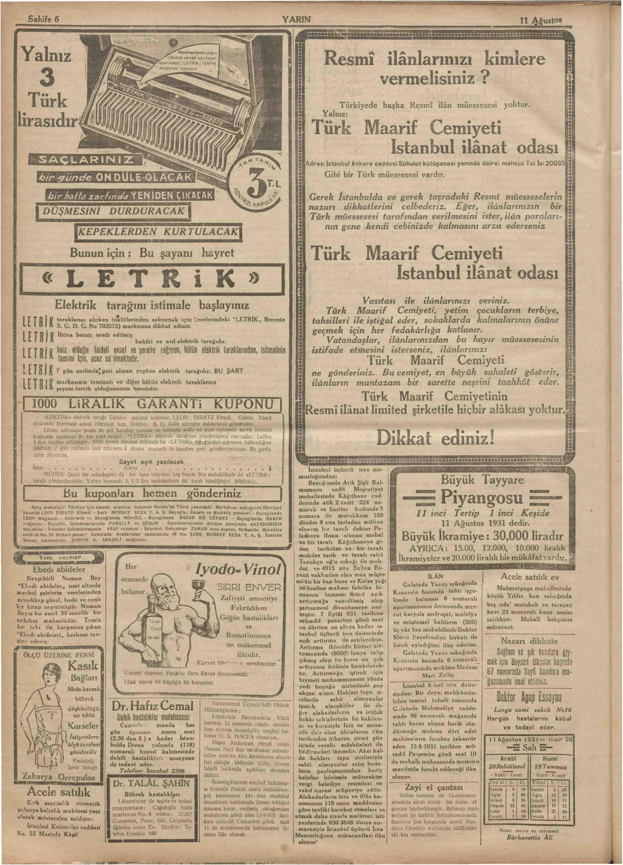 11 Ağustos 1931 Tarihli Yarın Dergisi Sayfa 6
