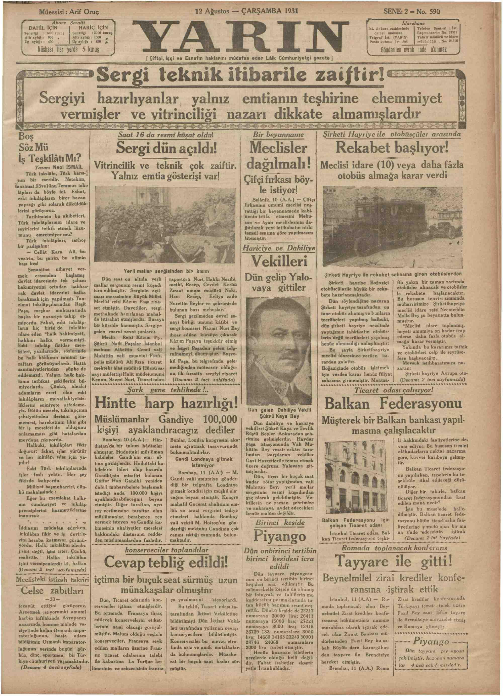12 Ağustos 1931 Tarihli Yarın Gazetesi Sayfa 1