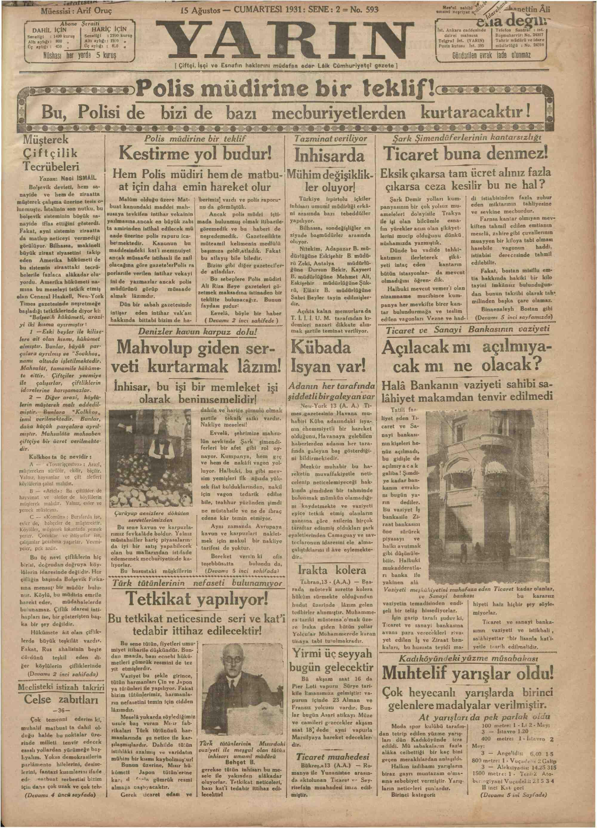 15 Ağustos 1931 Tarihli Yarın Gazetesi Sayfa 1