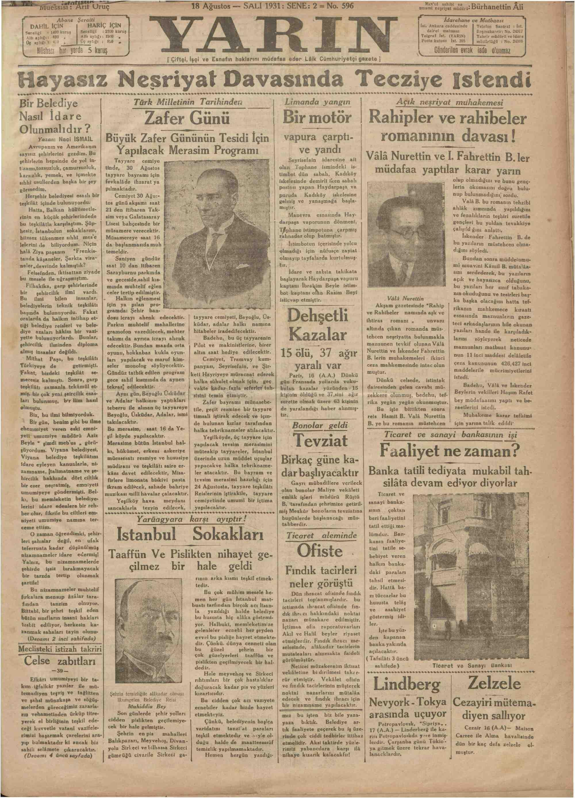 18 Ağustos 1931 Tarihli Yarın Gazetesi Sayfa 1