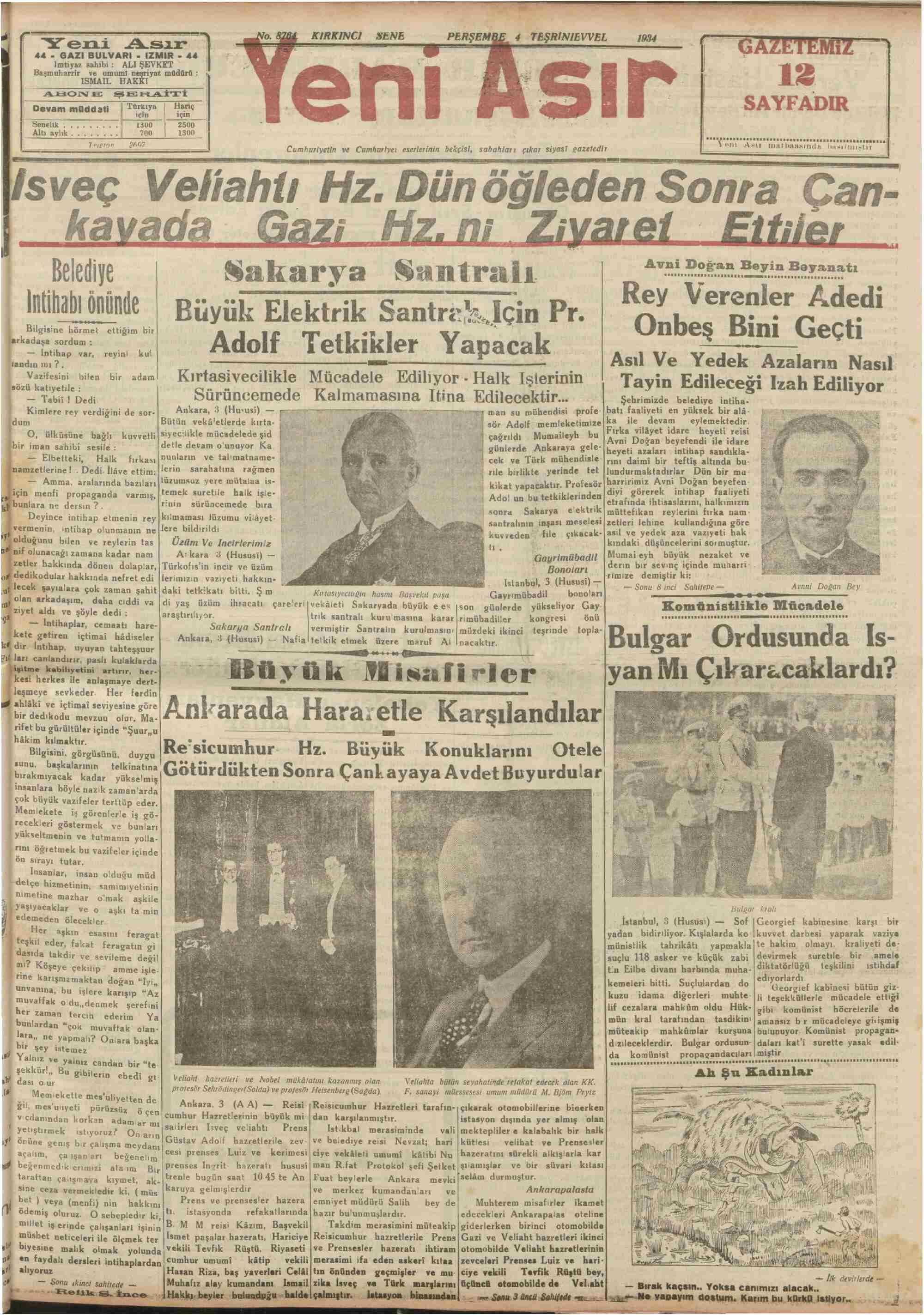 4 Ekim 1934 Tarihli Yeni Asır Dergisi Sayfa 1