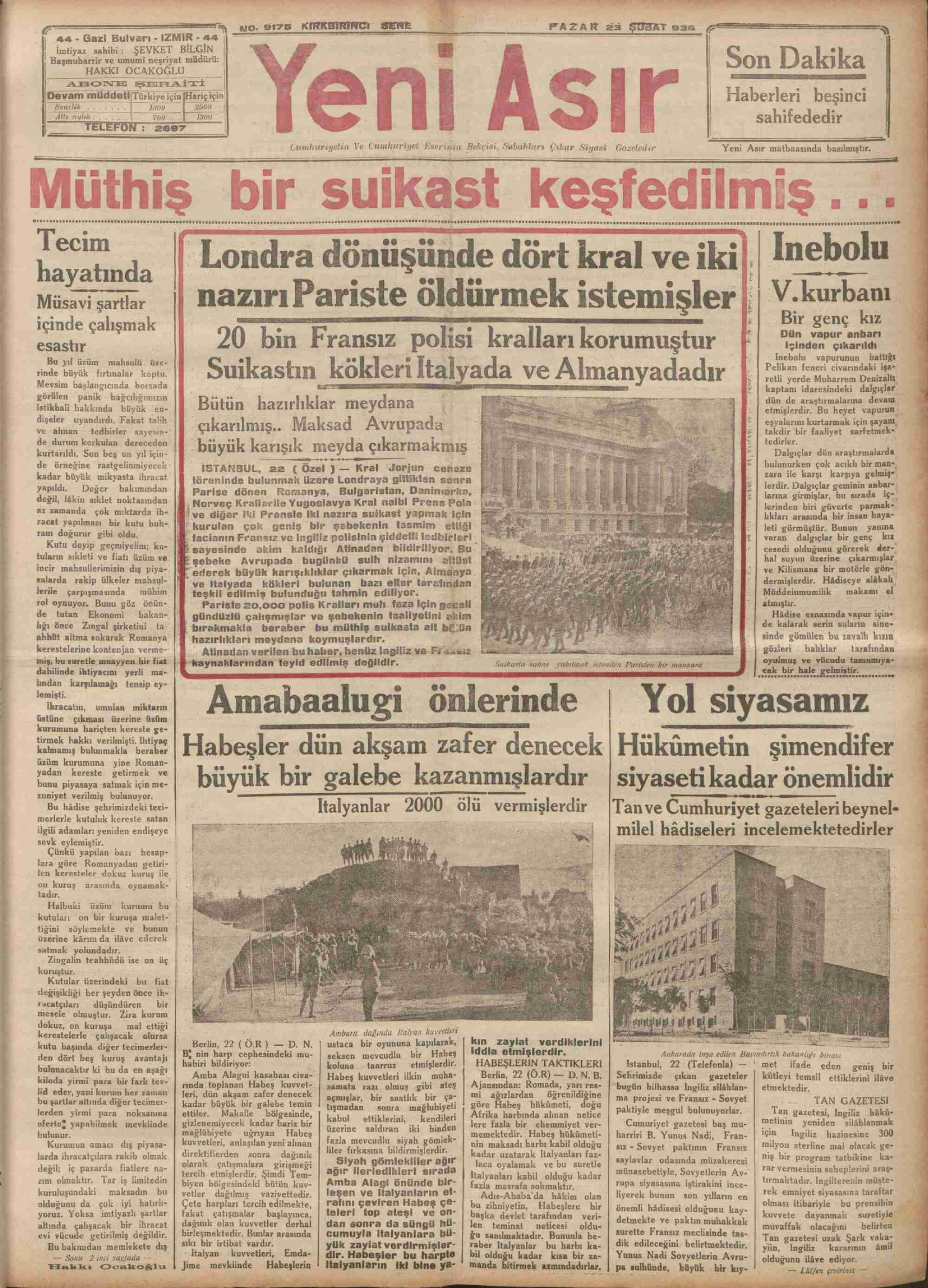 23 Şubat 1936 Tarihli Yeni Asır Gazetesi Sayfa 1