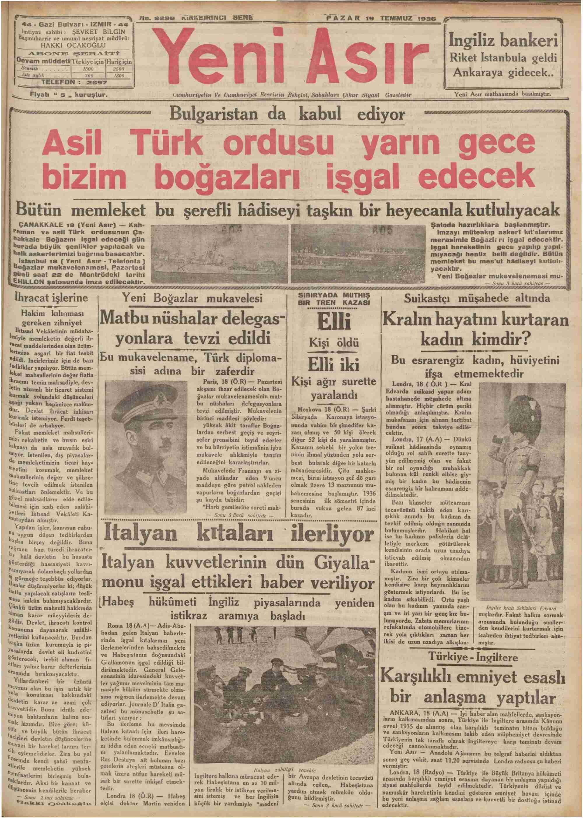 18 Temmuz 1936 Tarihli Yeni Asır Gazetesi Sayfa 1