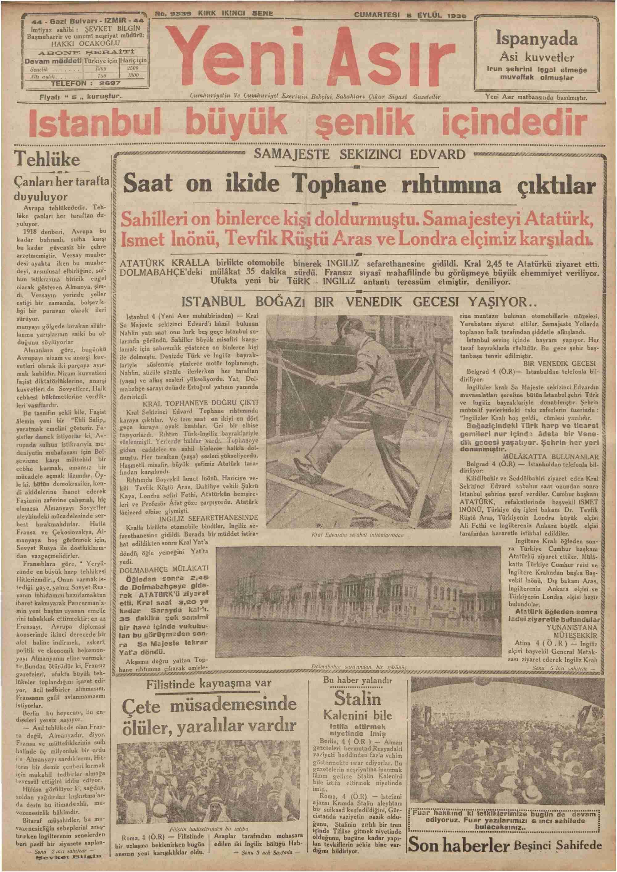 5 Eylül 1936 Tarihli Yeni Asır Gazetesi Sayfa 1