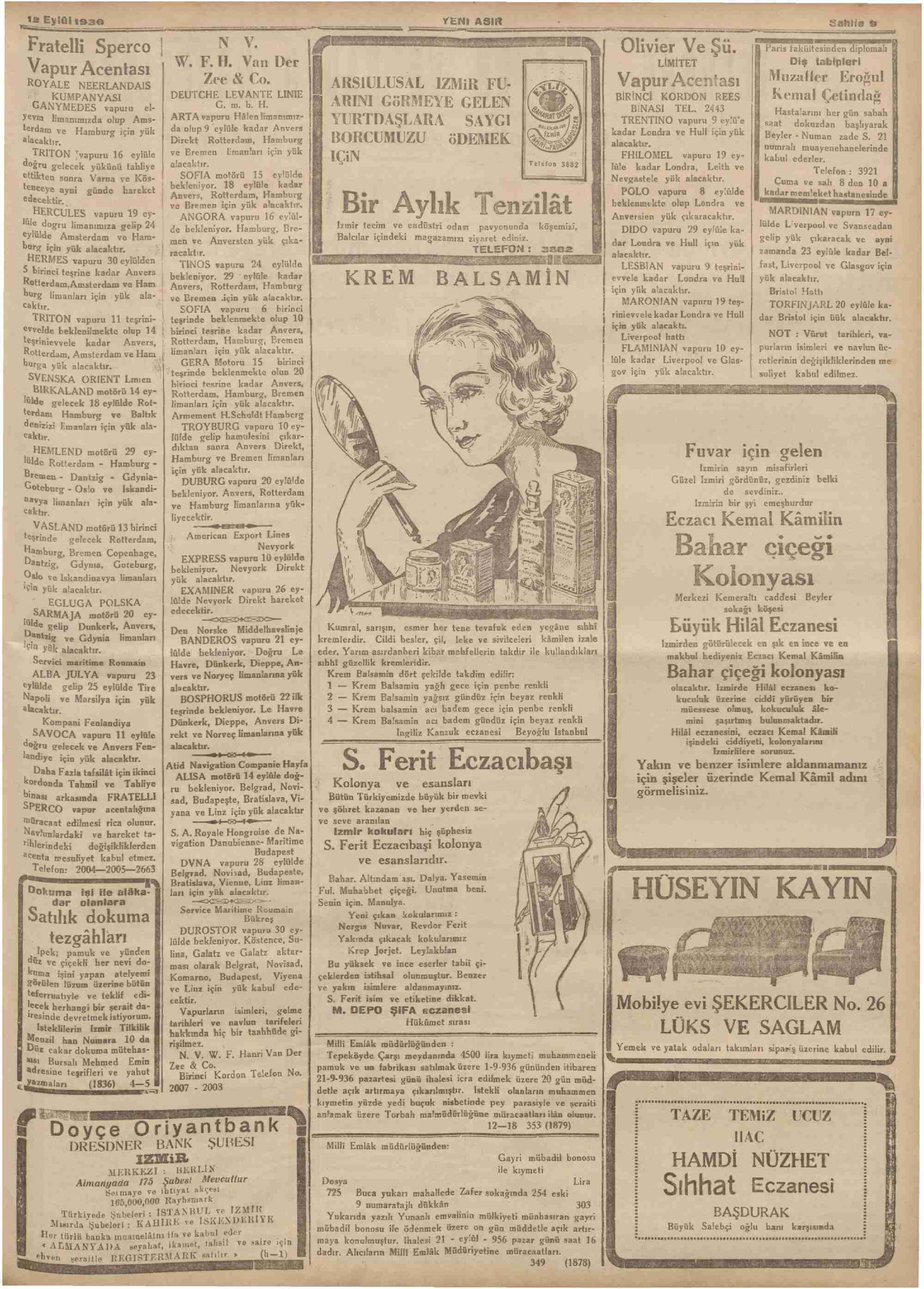 12 Eylül 1936 Tarihli Yeni Asır Dergisi Sayfa 9