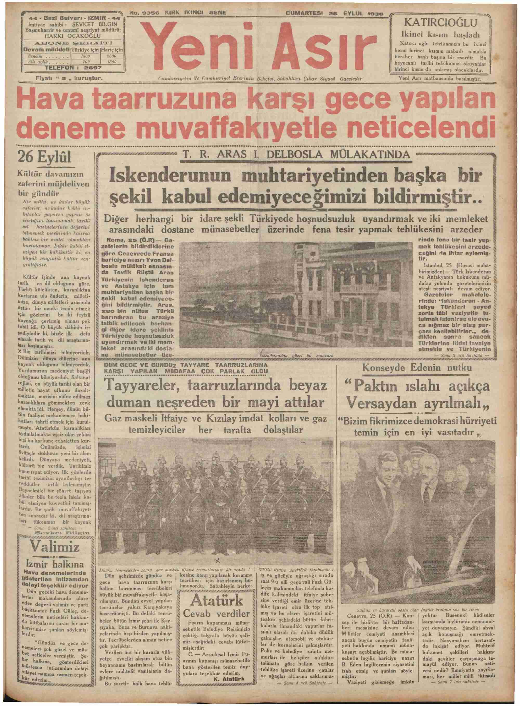 26 Eylül 1936 Tarihli Yeni Asır Gazetesi Sayfa 1