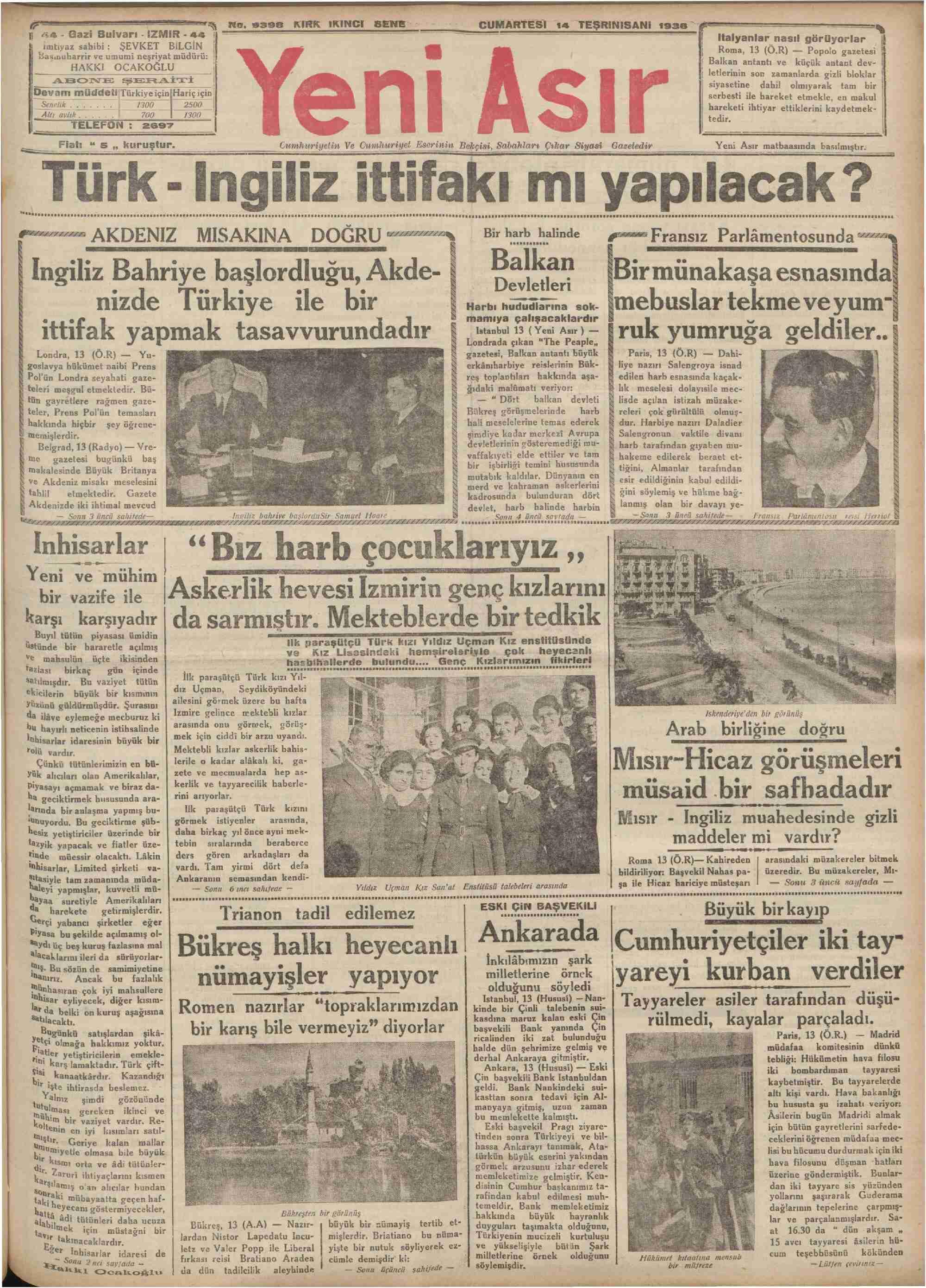 14 Kasım 1936 Tarihli Yeni Asır Dergisi Sayfa 1