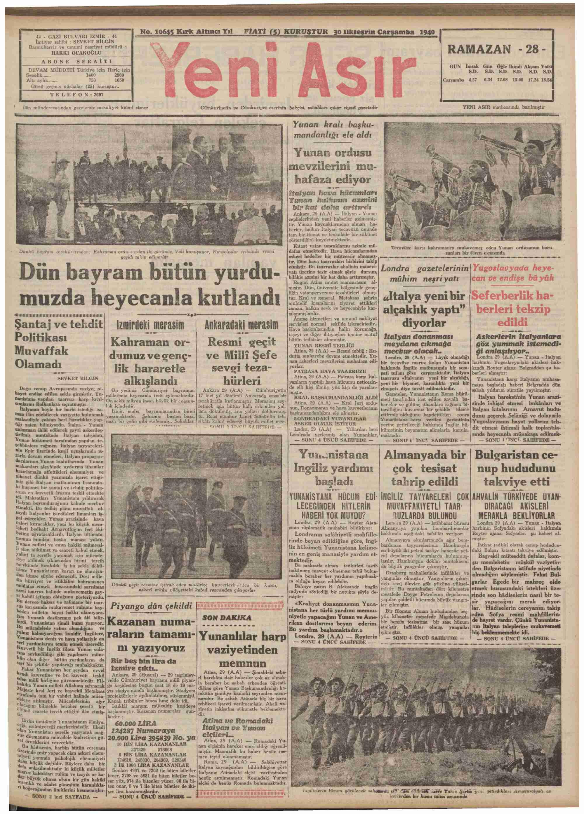 30 Ekim 1940 tarihli Yeni Asır Gazetesi Sayfa 1