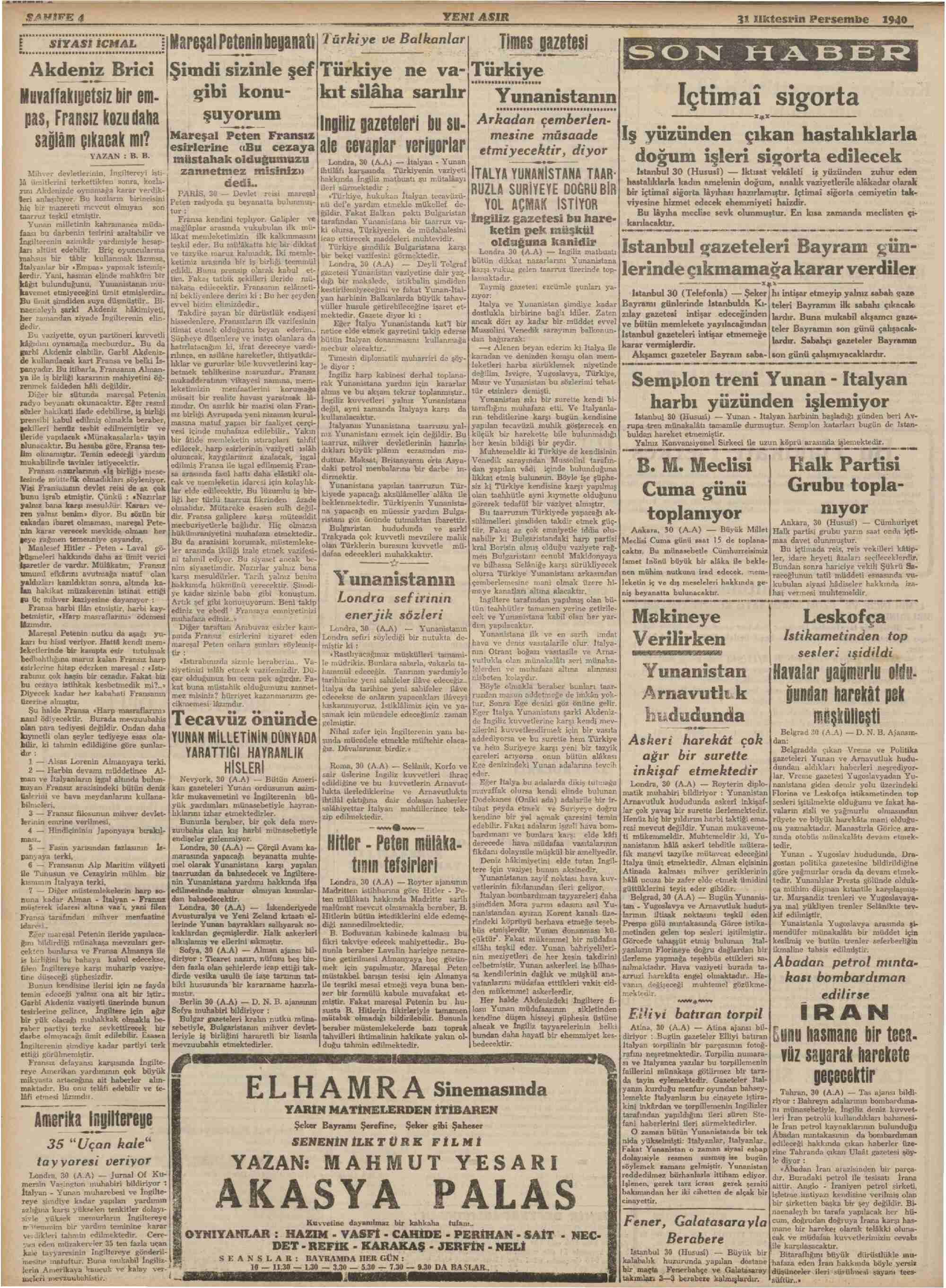 30 Ekim 1940 Tarihli Yeni Asır Gazetesi Sayfa 8