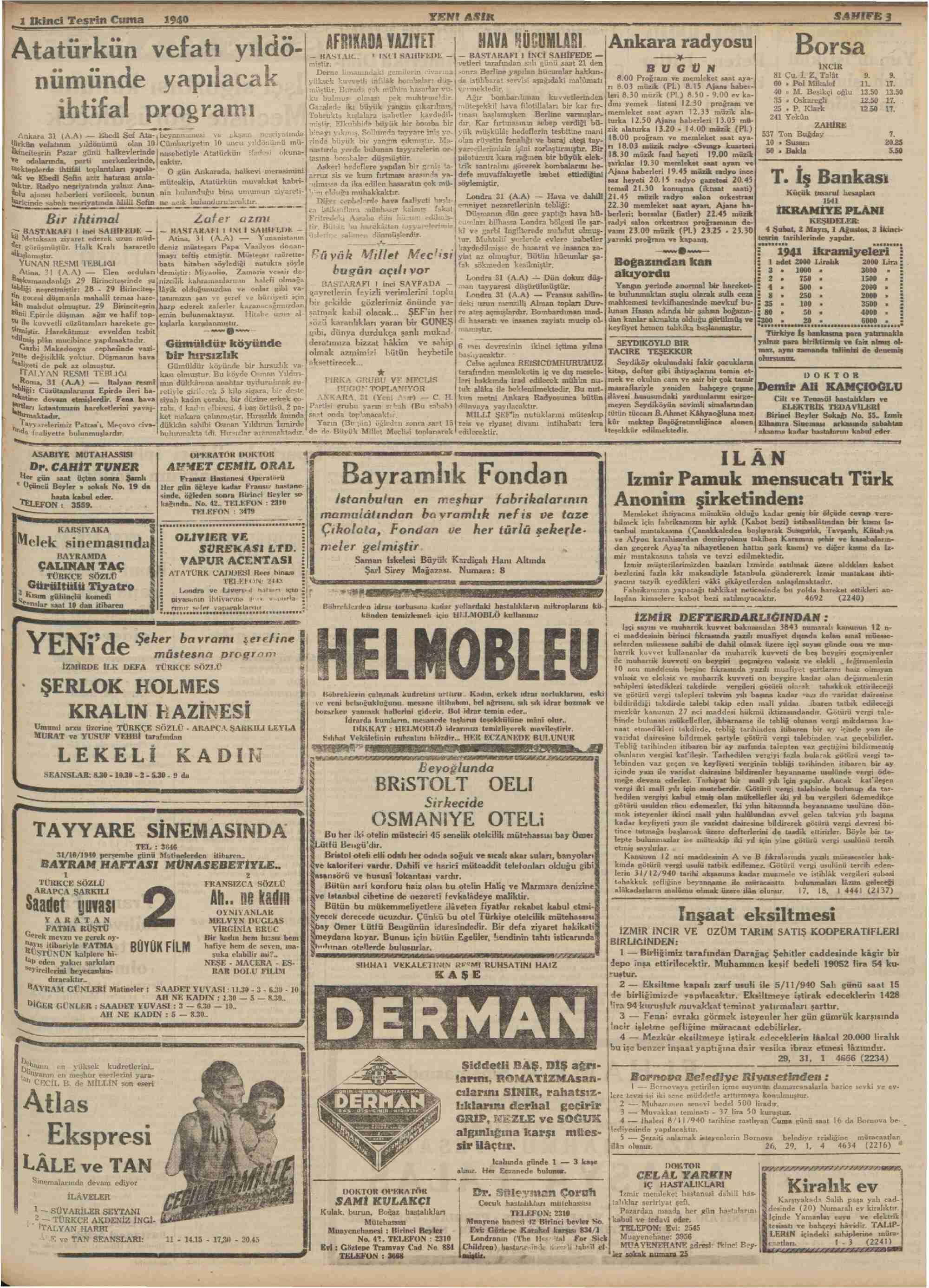 1 Kasım 1940 tarihli Yeni Asır Gazetesi Sayfa 3